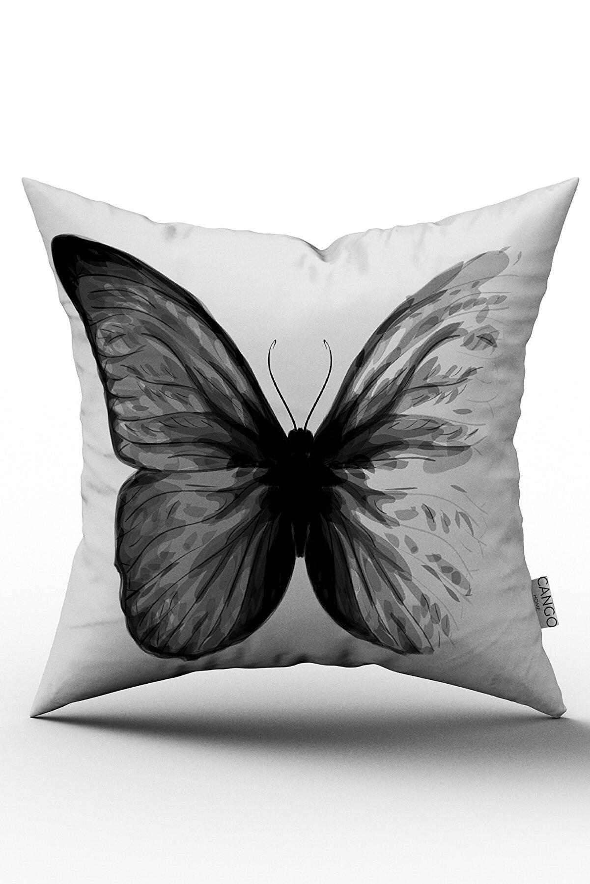 Cango Home Siyah Kelebek Özel Tasarım Yastık Kırlent Kılıfı 576