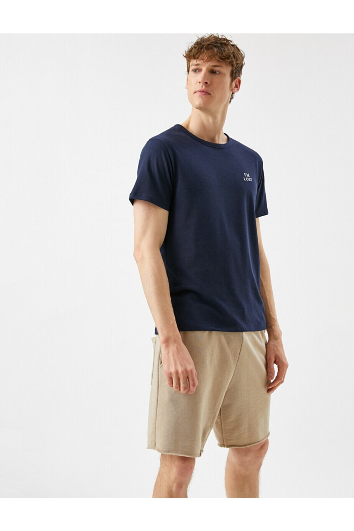 Koton Erkek Lacivert Yazı İslemeli Bisiklet Yaka T-Shirt