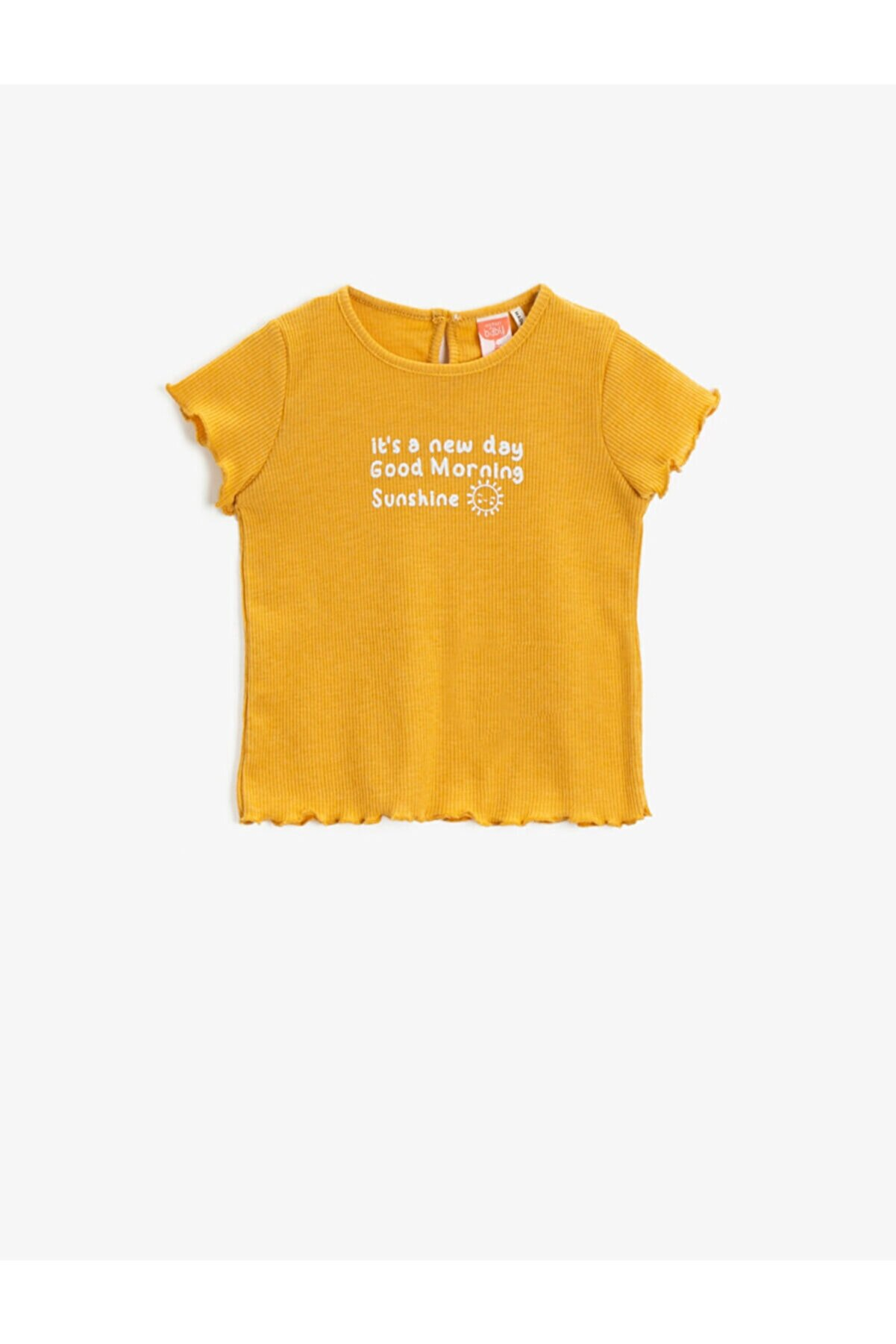 Koton Kız Bebek Sarı Bisiklet Yaka Pamuklu  T-Shirt