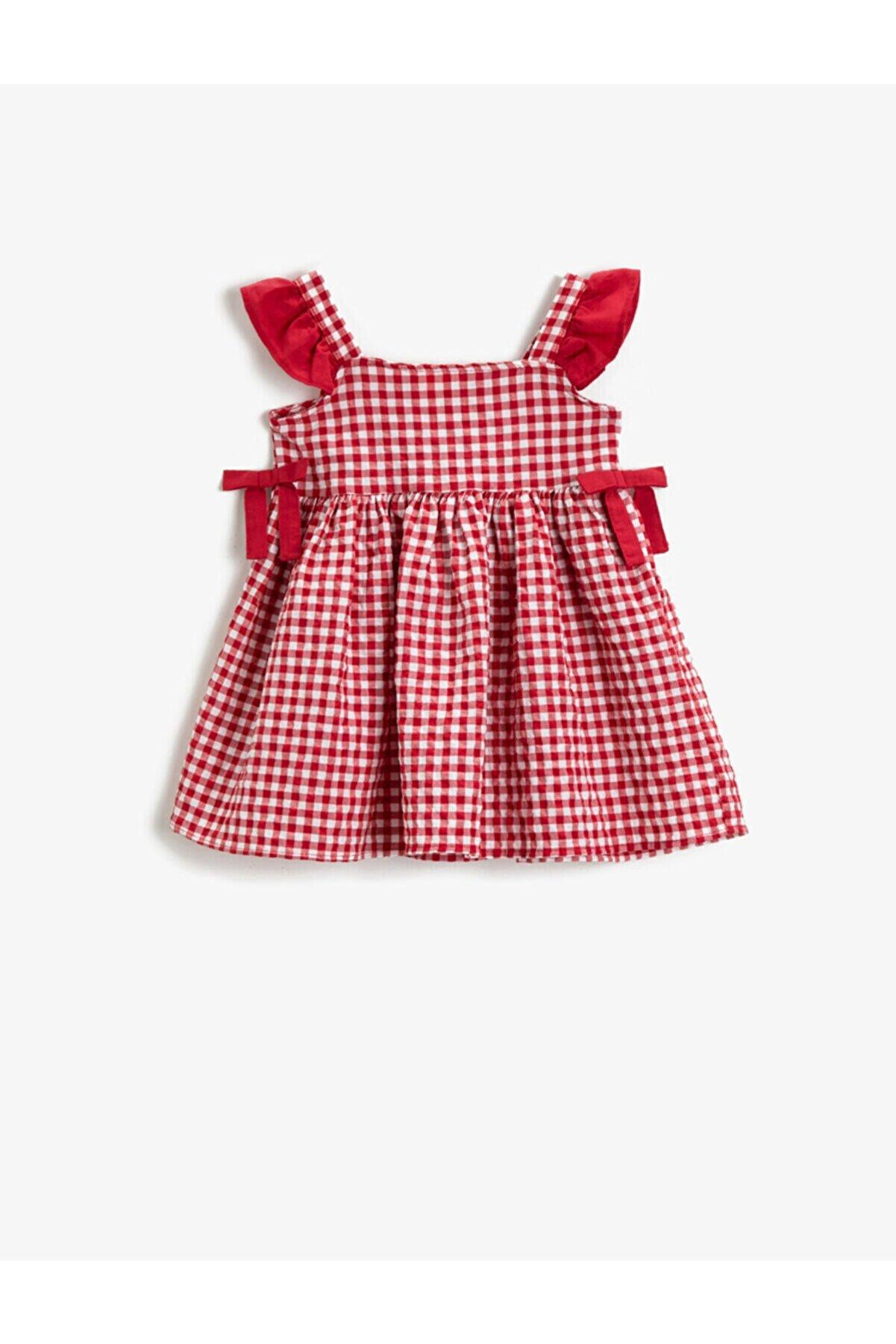 Koton Kız Çocuk Kırmızı Kareli Pamuklu Fiyonklu Elbise