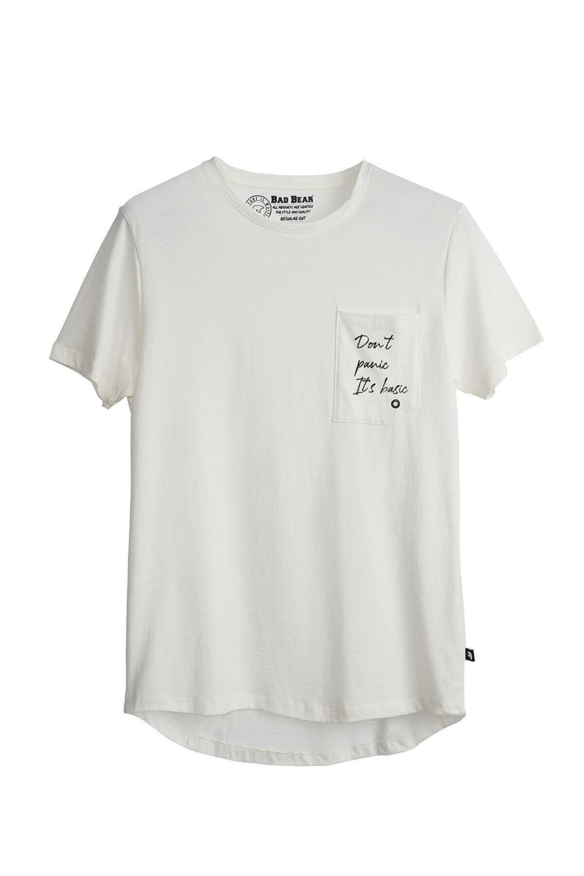 Bad Bear Erkek Kırık Beyaz Tişört Panıc Basıc Tee