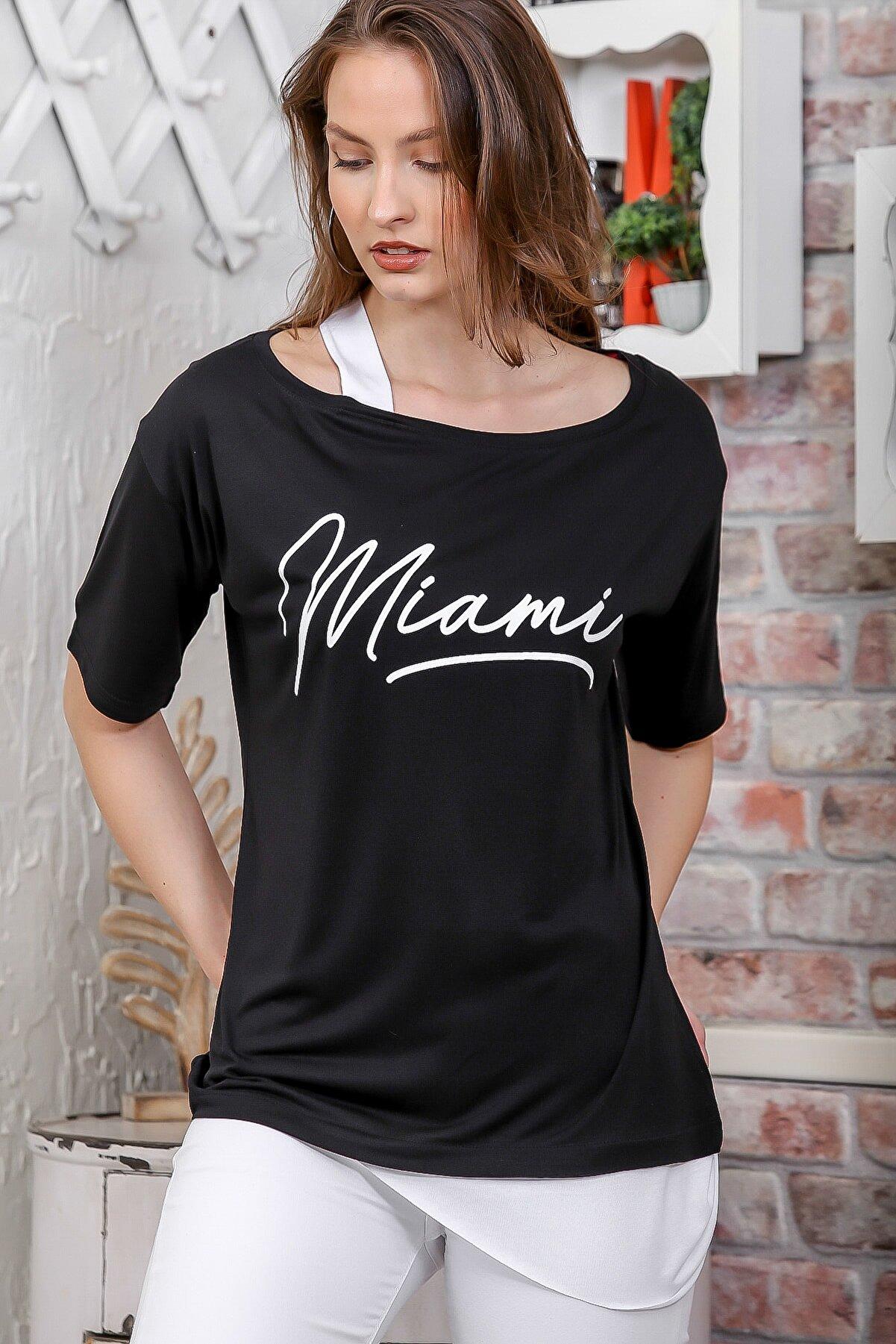 Chiccy Kadın Siyah Kayık Yaka Tek Omuz Askılı Etek Ucu Bloklu Baskılı T-Shirt M10010300TS98269