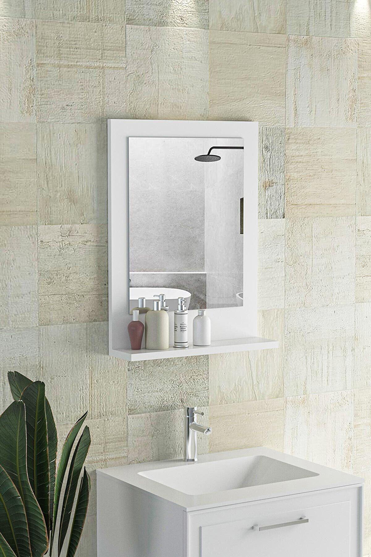 bluecape Beyaz Verona Raflı Dresuar Hol Koridor Duvar Salon Banyo Wc Ofis Çocuk Yatak Odası Boy Ayna 45x60cm