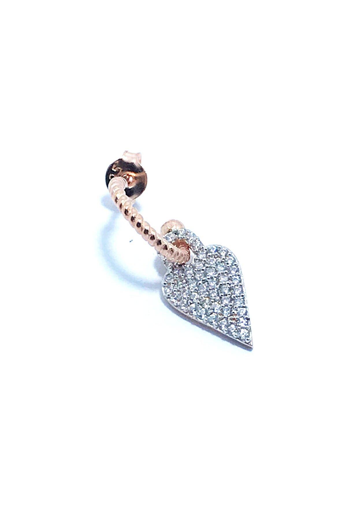 Silverster Collection Gümüş Taşlı Kalp Küpe Rose - Tek