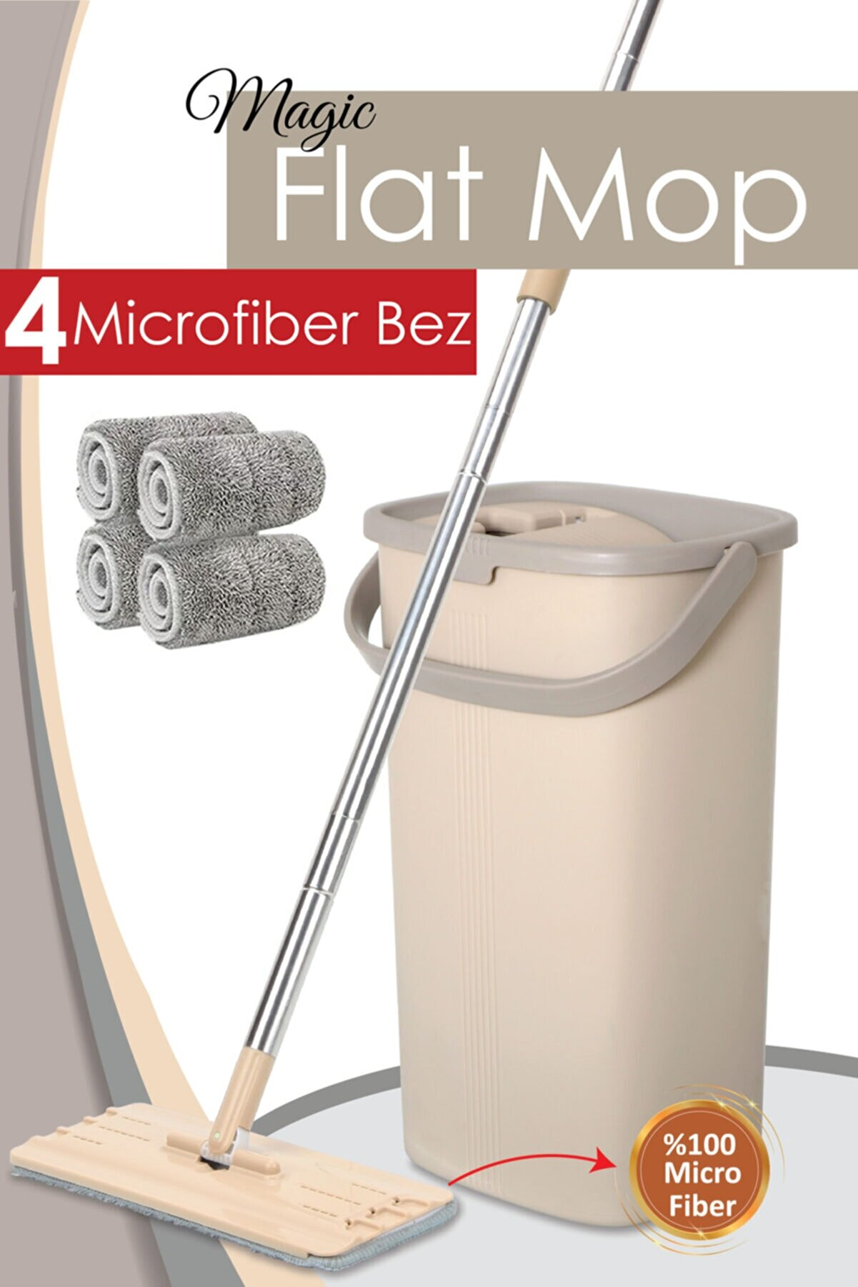 Meleni Home Magic Flat Tablet Mop Set 4 Bezli