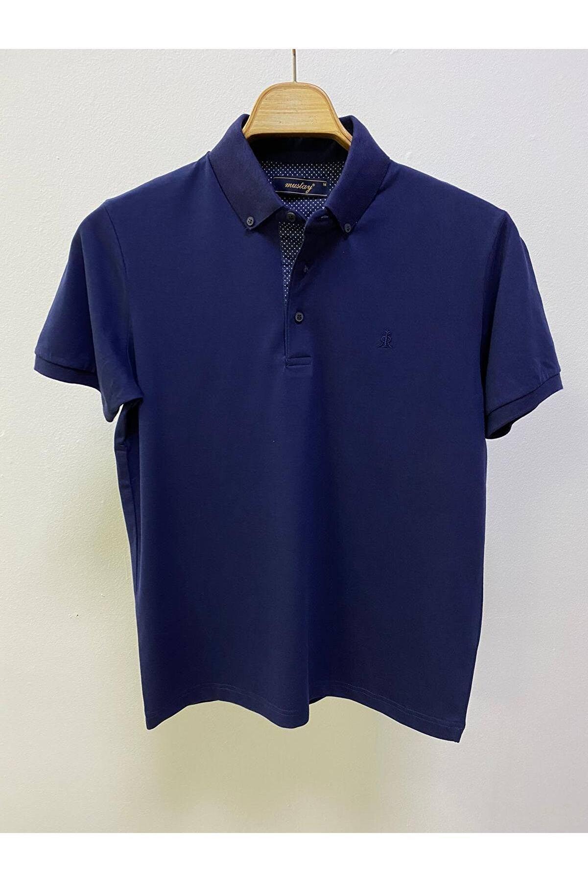 MUSTAY Yakalı Pamuklu Erkek Tişört. %97 Pamuk %3 Likra -düğmeli Yaka Pamuklu Erkek Tshırt