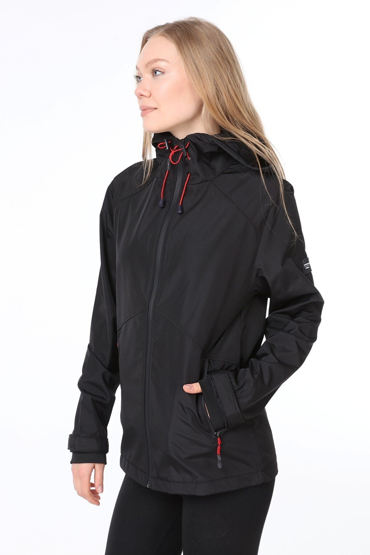 Ghassy Co Kadın Rüzgarlık Yağmurluk Omuz Detaylı Mevsimlik Siyah Spor Ceket