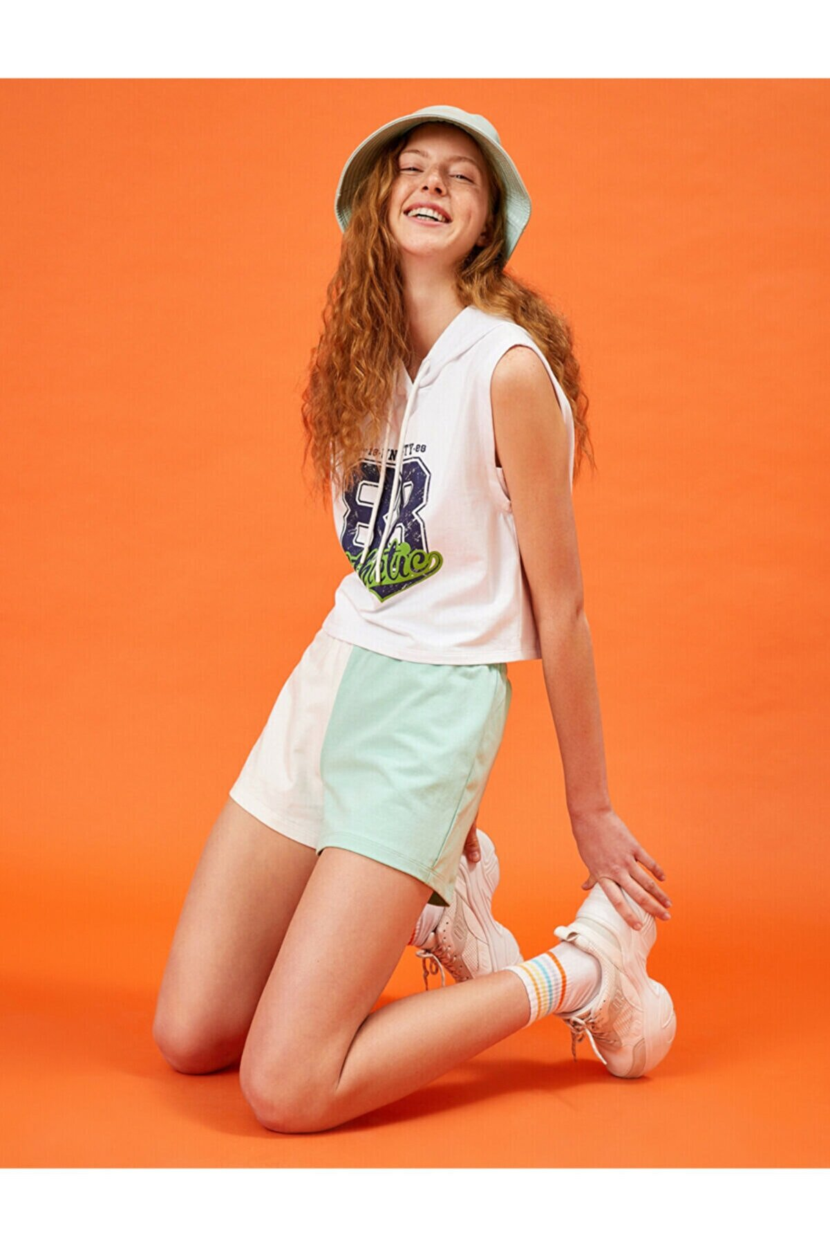 Koton Kadın Yeşil Renk Bloklu Sort Pamuklu