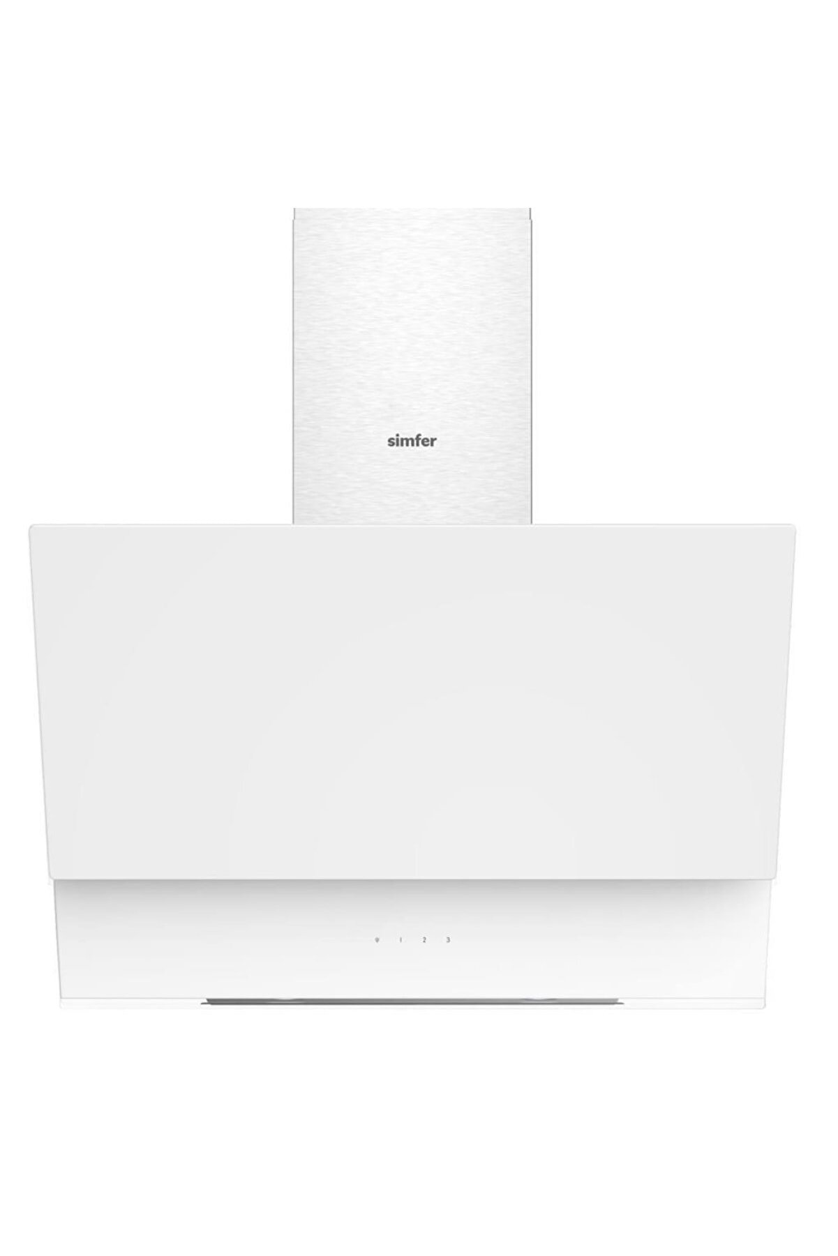 Simfer 9614 60 cm Beyaz Eğik Cam Davlumbaz Dokunmatik + Led Lamba