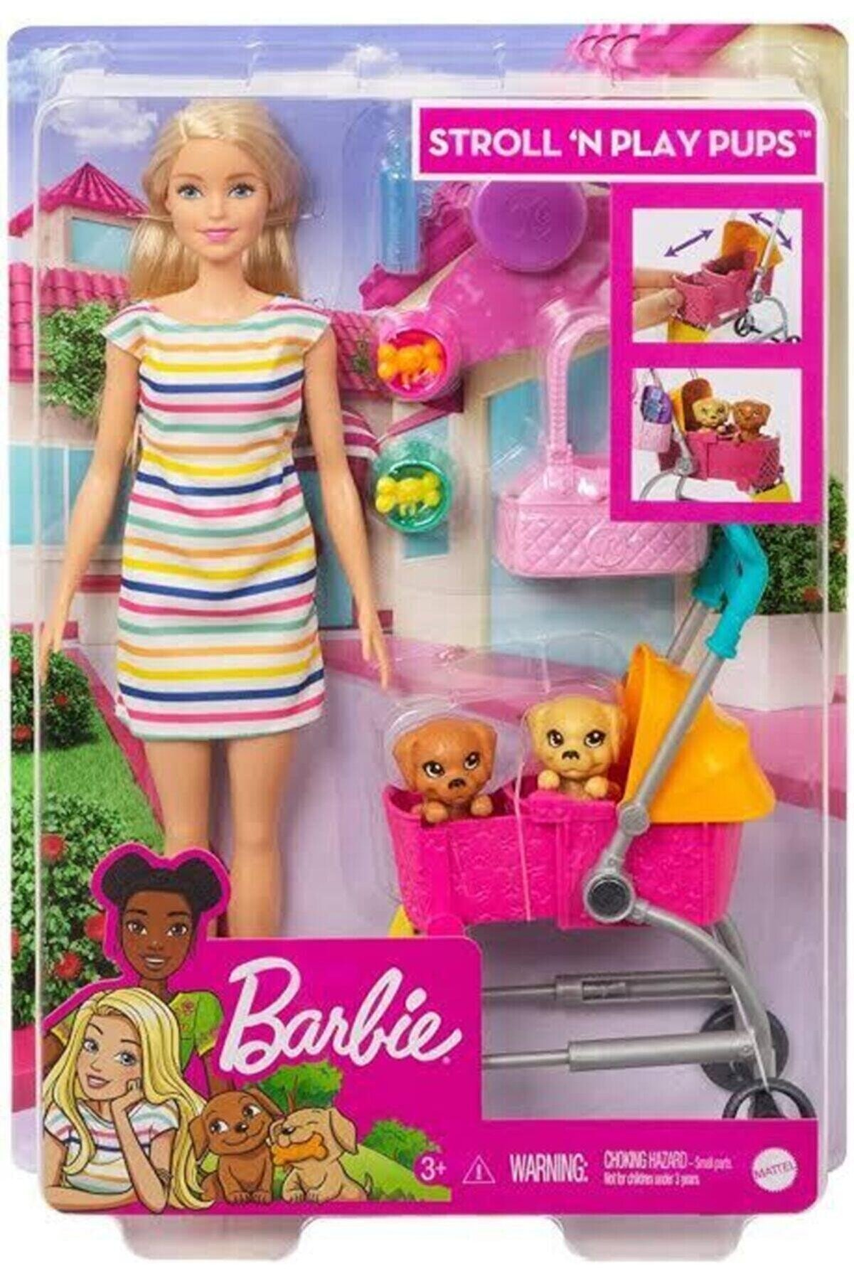 Barbie Ve Köpekleri Geziyor Oyun Seti - Bebek 2 Yavru Köpeği Ve Pusetiyle Ghv92