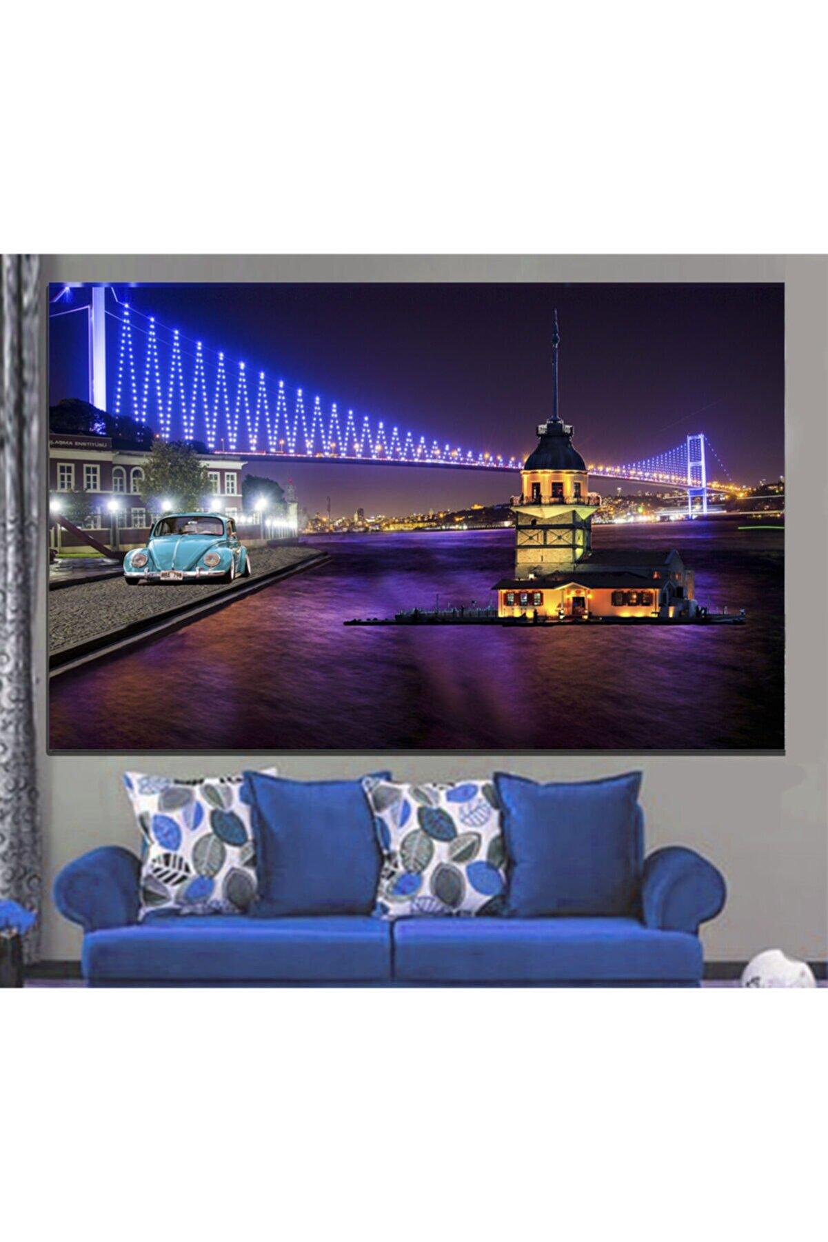 REYONART Led Işıklı Köprü Kızkulesi Kanvas Tablo