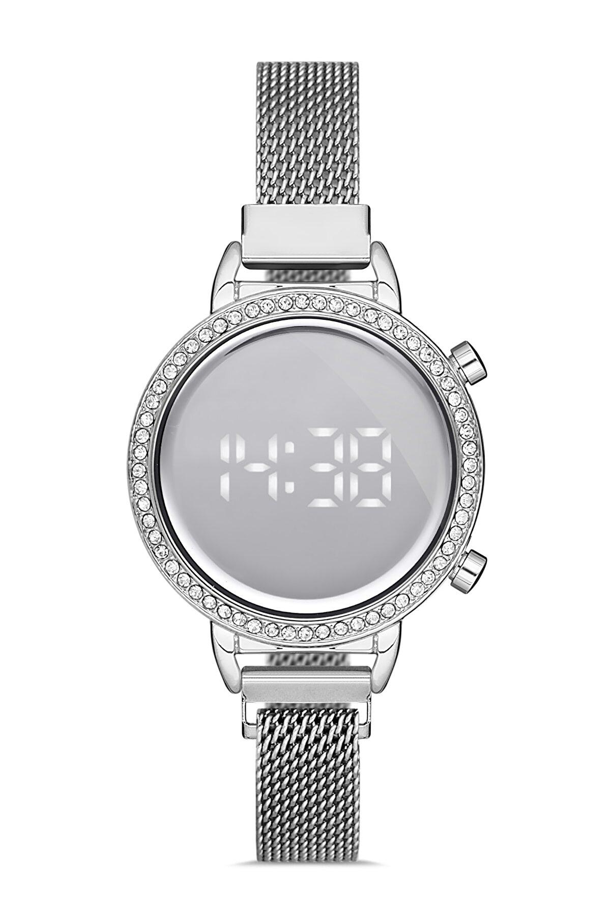 Madamra Gümüş Kadın Hasır Kordon Dijital Kol Saati