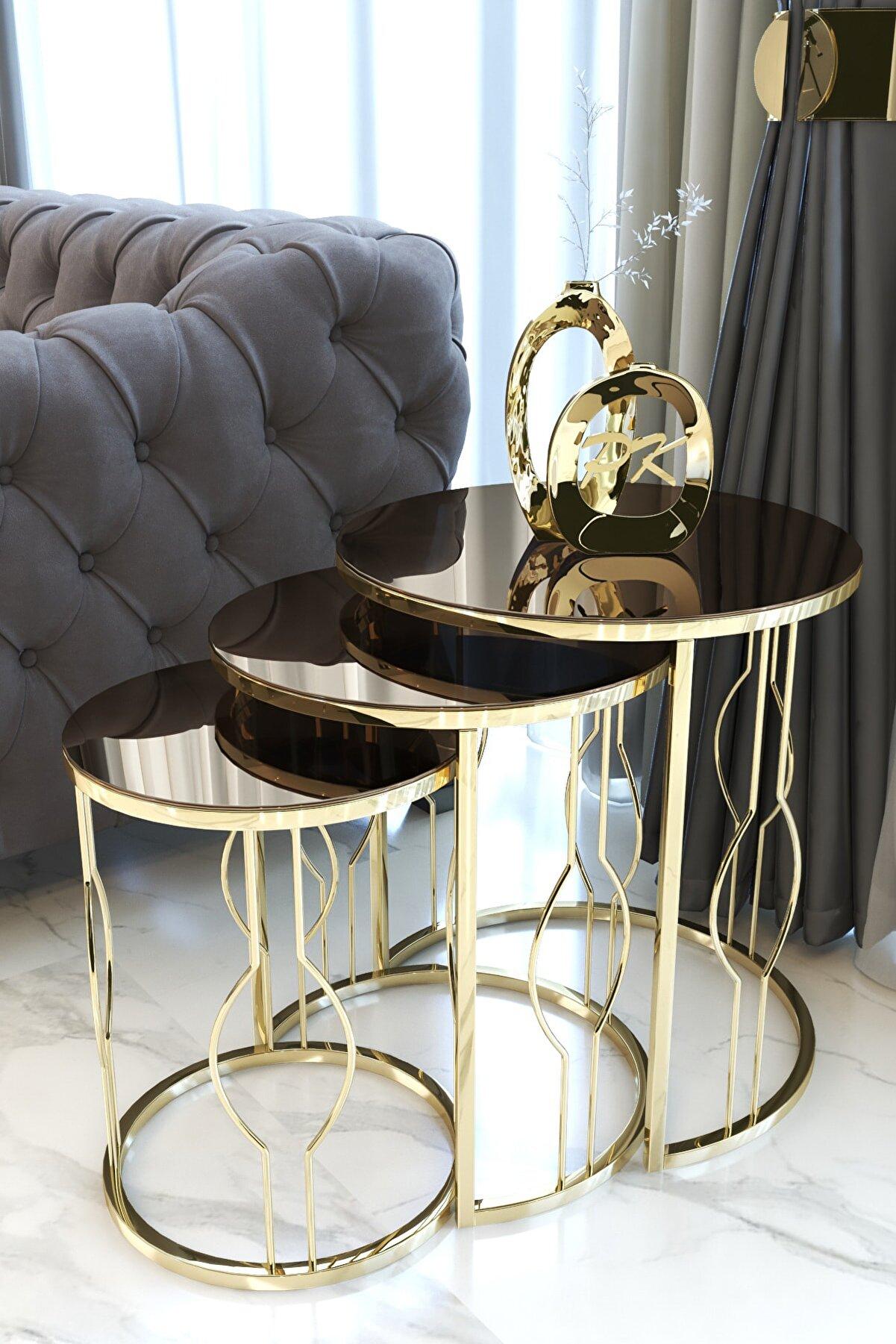 Pukka Sehpa Gold Zigon Sehpa, Bronz Aynalı
