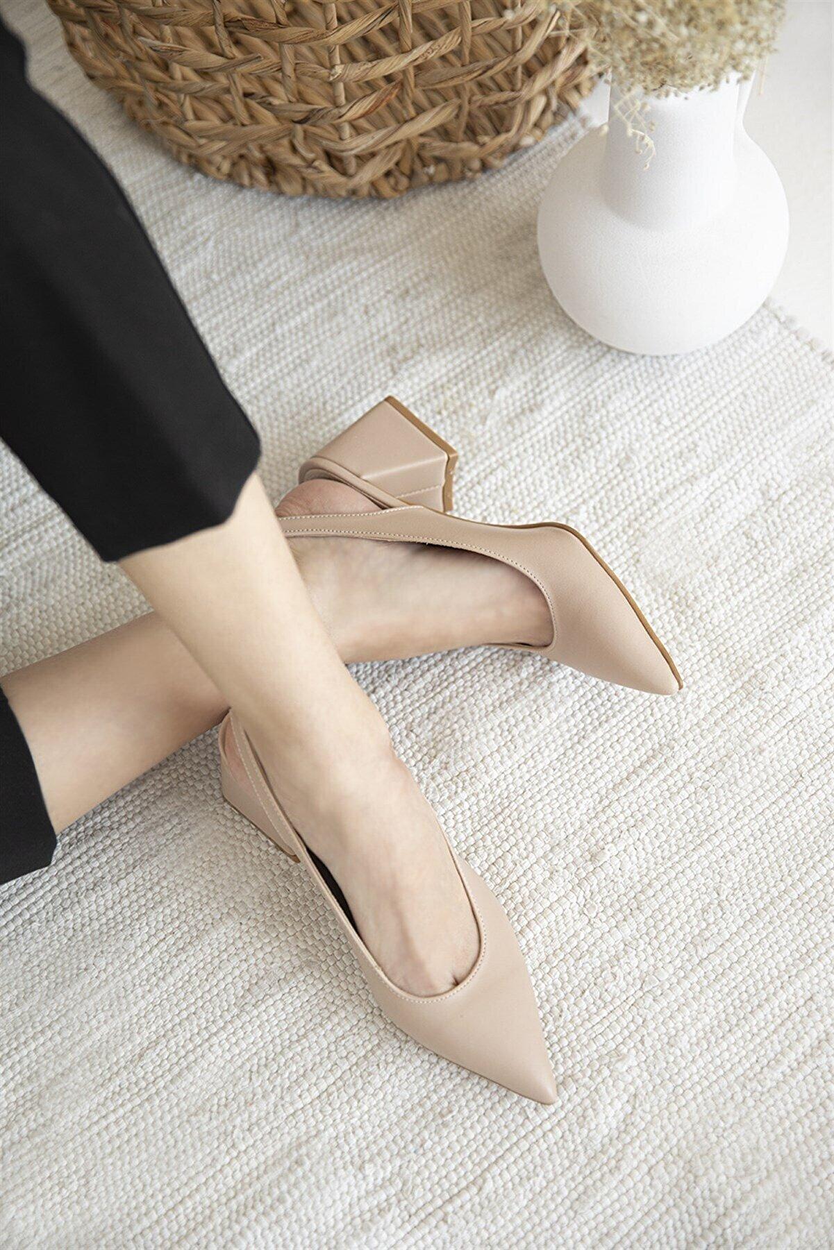 Straswans Kadın Ten Deri Topuklu Ayakkabı