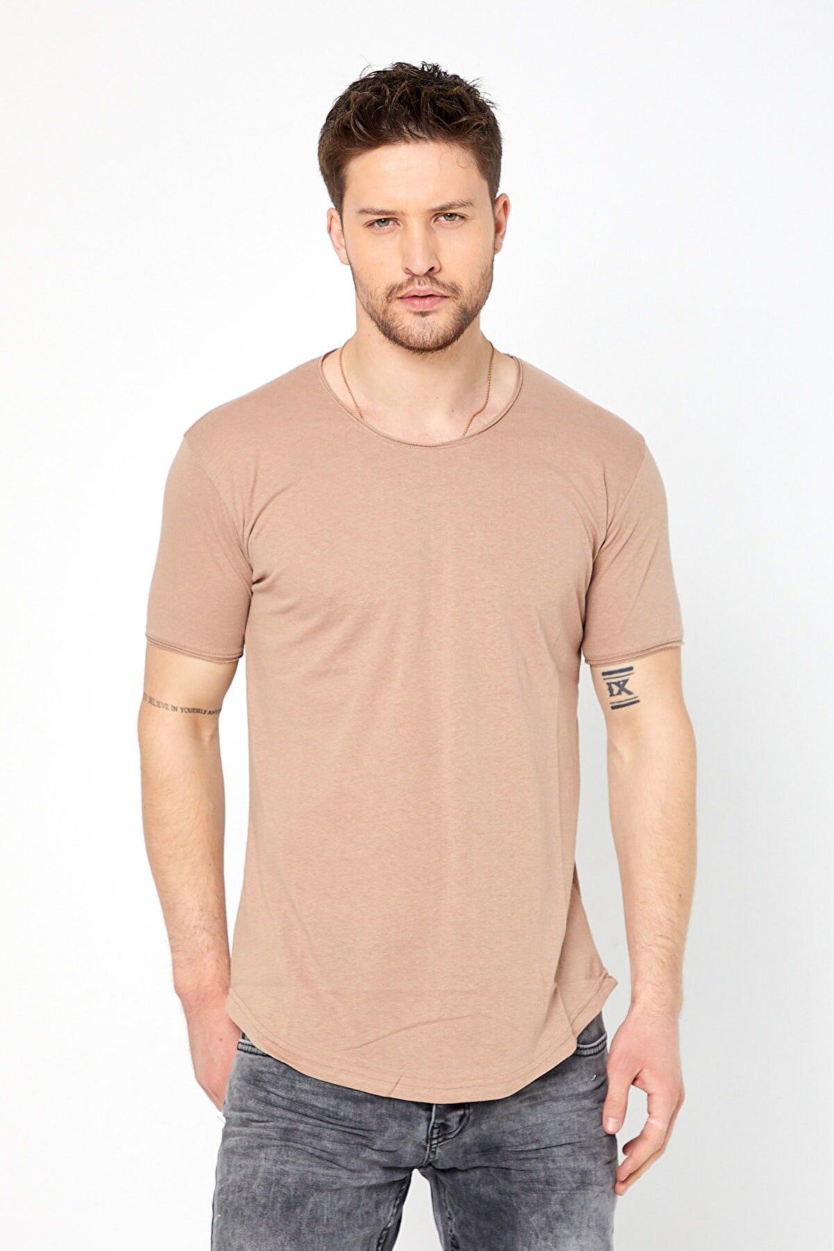 Tarz Cool Erkek Krem Pis Yaka Salaş T-shirt