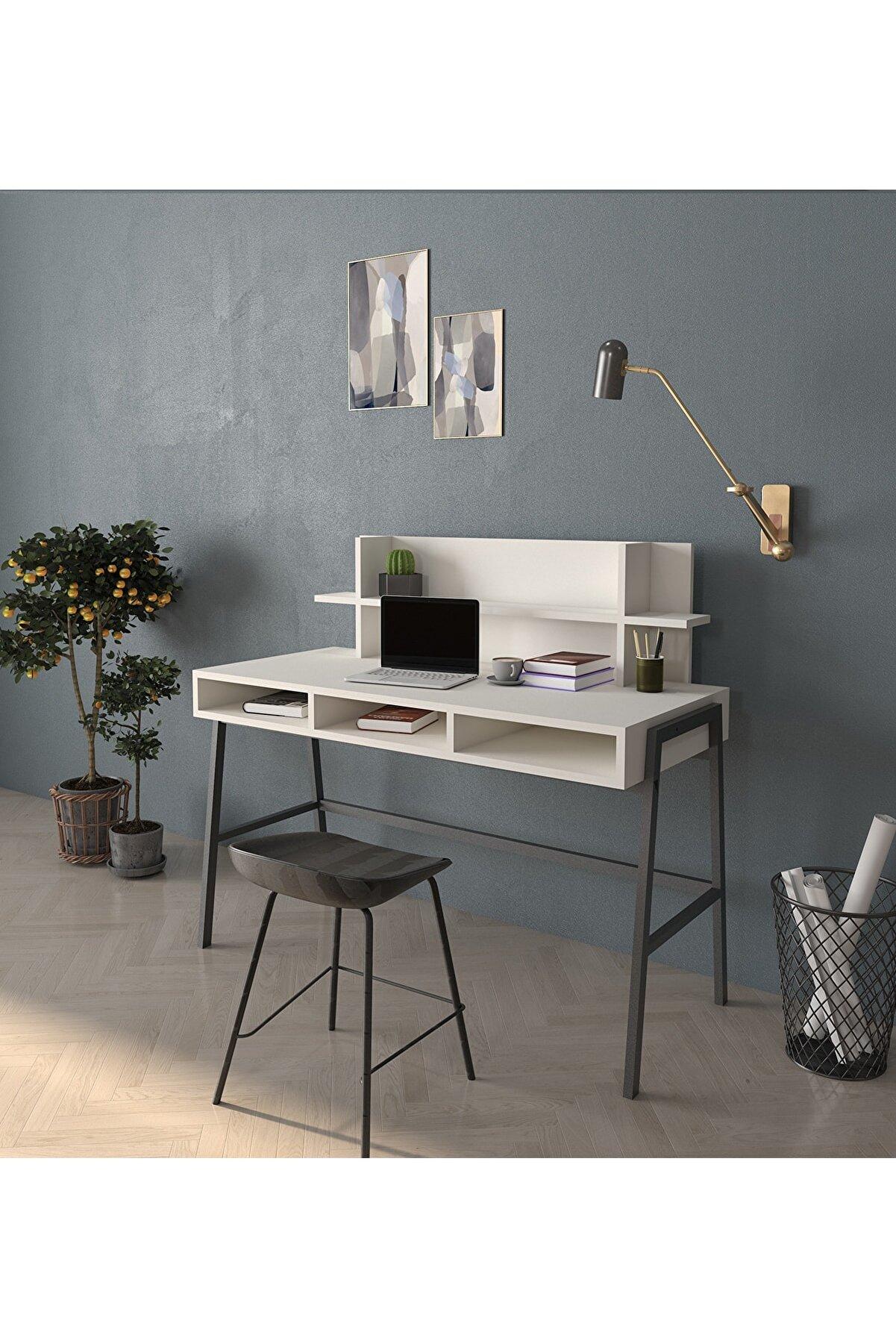 Cool Home Loft Metal Ayaklı Çalışma Masası - 120 Cm - Aytaşı (açık Krem)