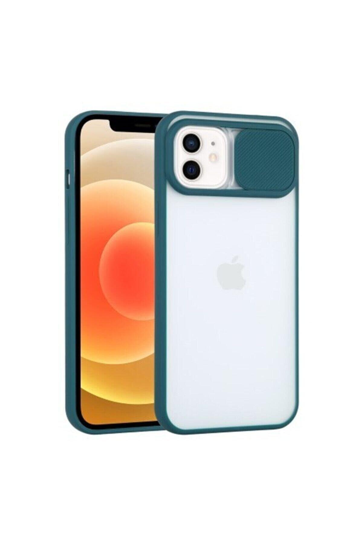"""Teknoçeri Iphone 11 6.1"""" Uyumlu Kamera Lens Korumalı Sürgülü Koyu Yeşil Kılıf"""