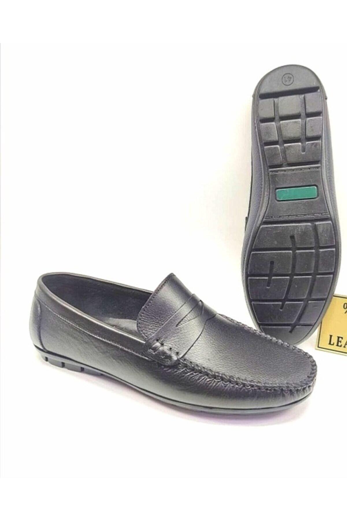 Gez Depo Erkek Siyah Hakiki Deri Konfor Taban Loafer Ayakkabı