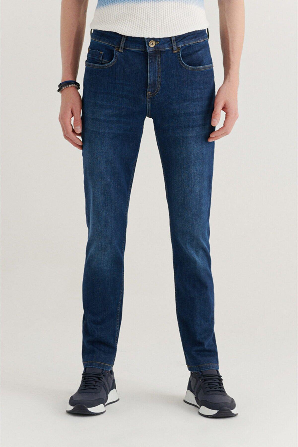 Avva Erkek Mavi Slim Fit Jean Pantolon A11y3528