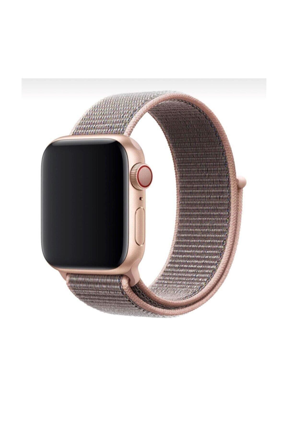 Mahzen Apple Watch 1-2-3-4-5 Serisi Uyumlu Kahverengi Rose Gold Loop Kordon