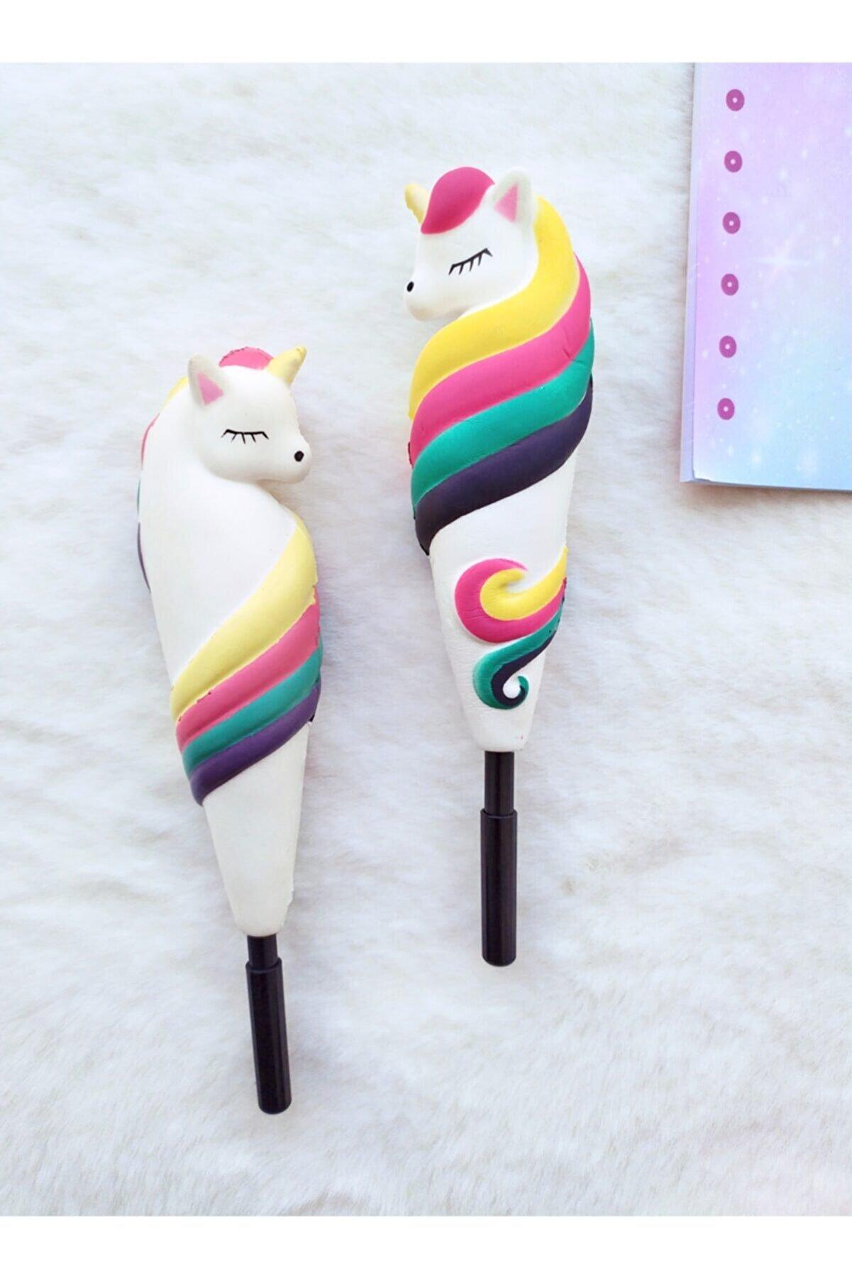 Pembe Çarşı Renkli Unicorn Squishy Jel Kalem