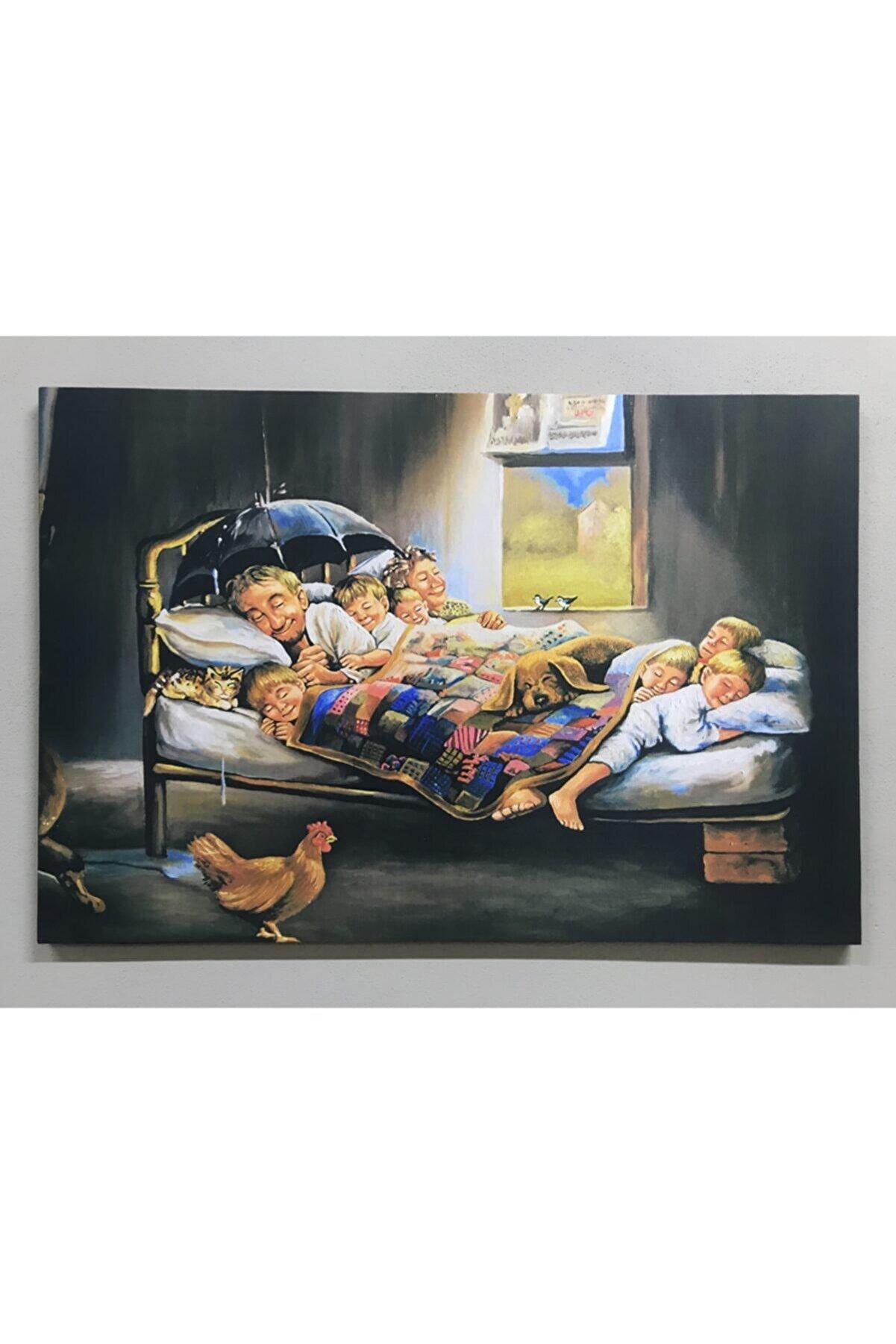 GRAZYA-BESTE Mutlu Aile Kanvas Tablo 60x90 cm