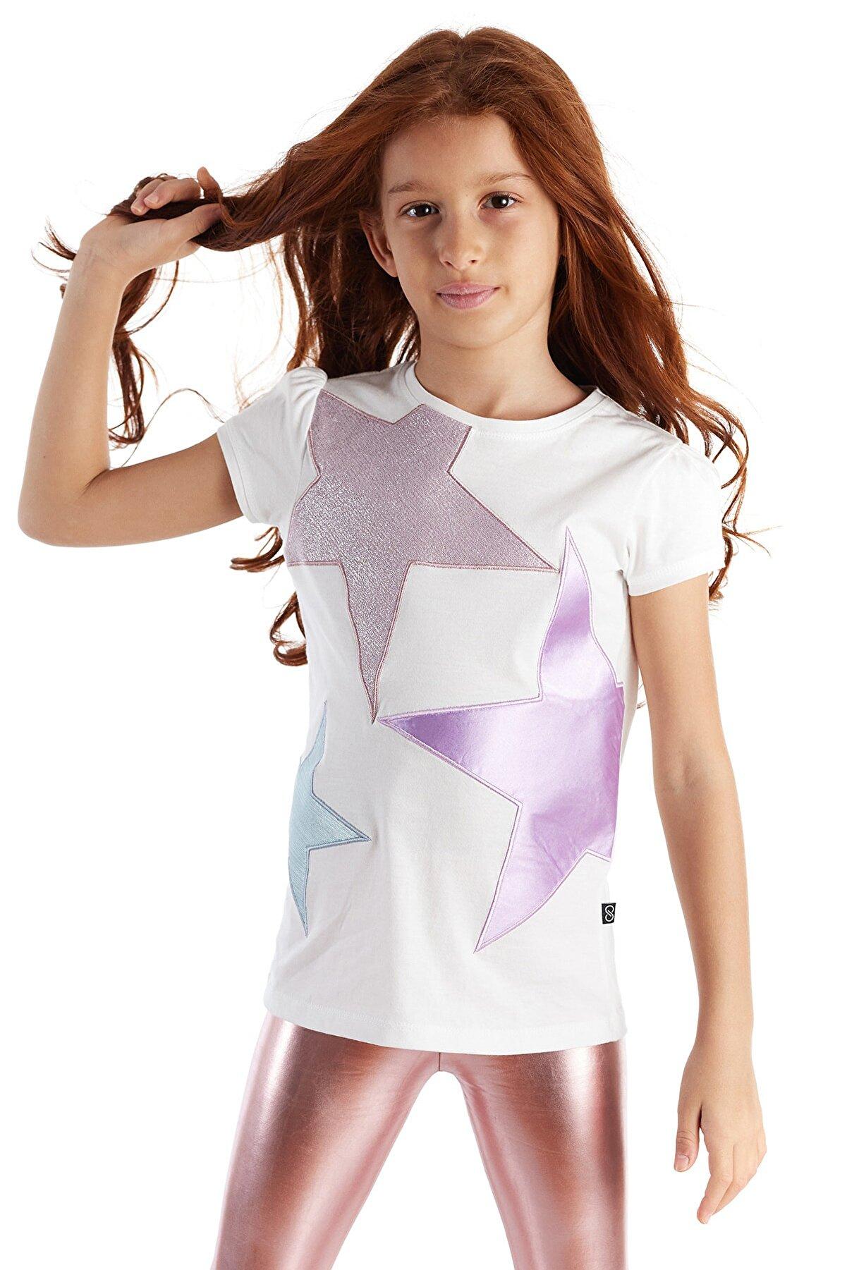 Colorinas Kız Çocuk Beyaz Yıldız Patch Kısa Kol Tshirt