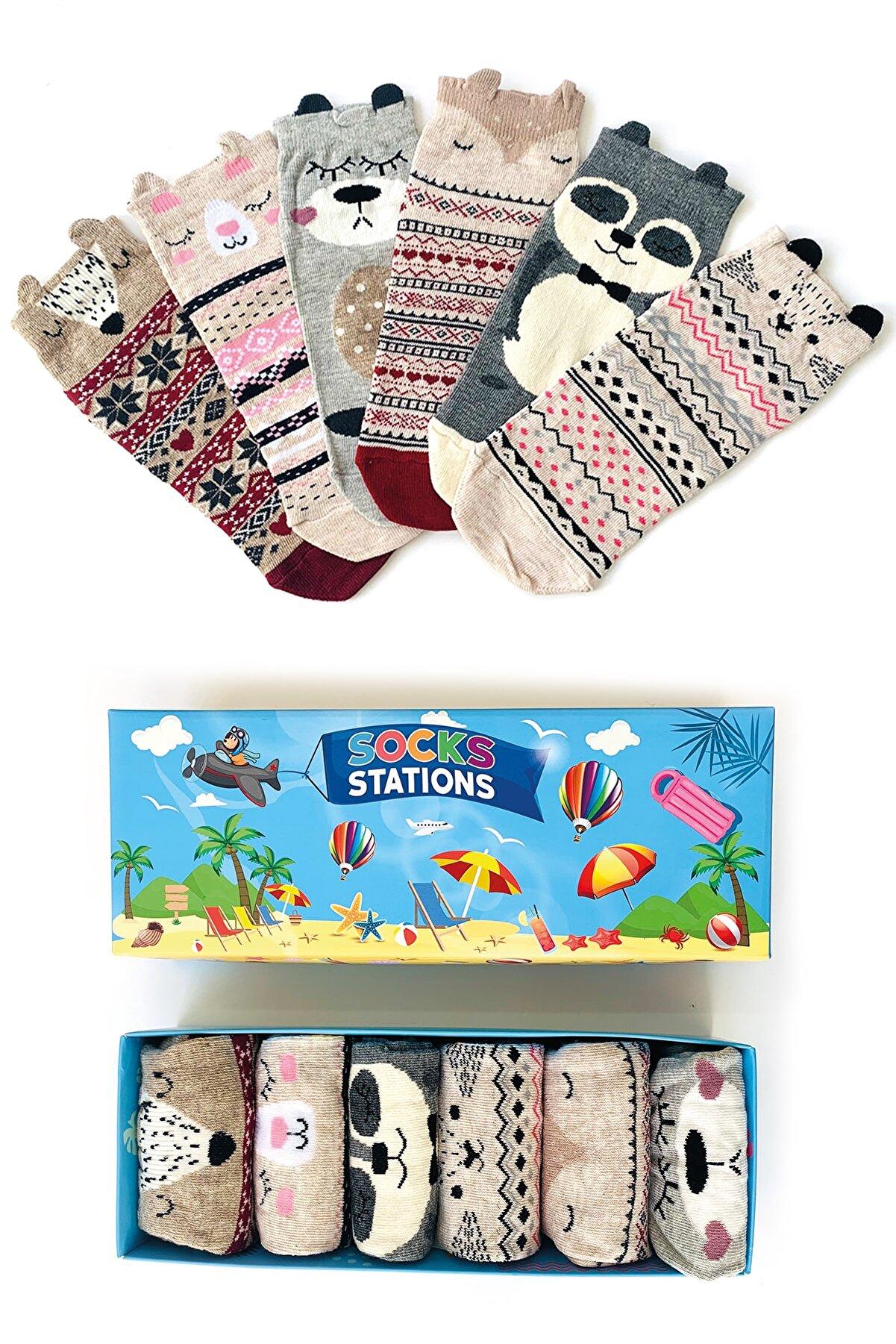 Socks Stations Kadın Kulaklı Süslemeli Hayvancık Bilek Çorap Kutusu 6'lı