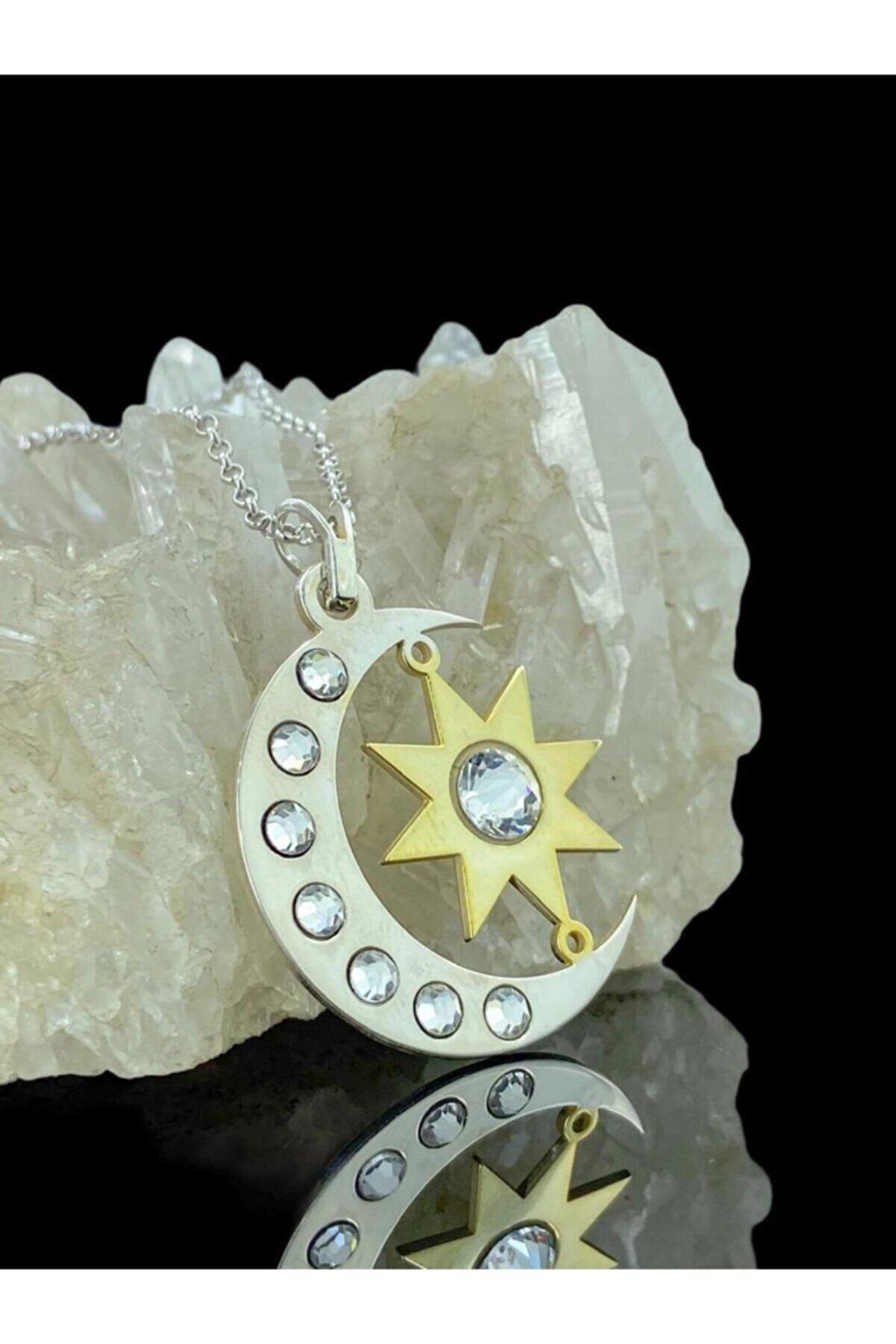 MaGümüş Soy Ve Luna Özel Tasarım Ay Ve Güneş 925 Gümüş Kolye