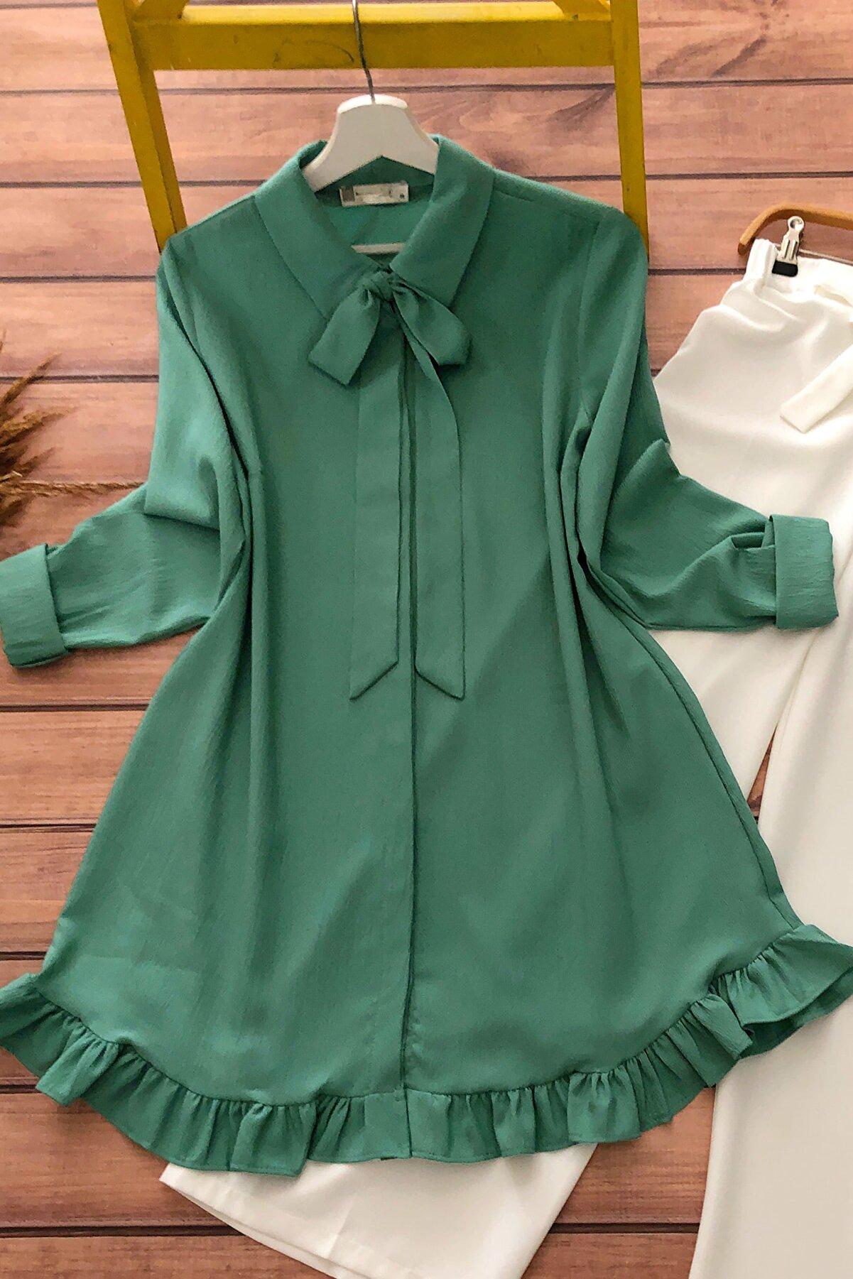 MODAQU Kadın Yeşil Fırfırlı Tunik Mq3989
