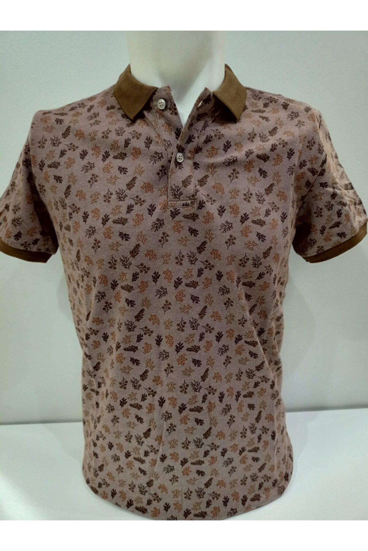 ZENGOLL & RAMİRES Erkek Kahverengi Yakalı Baskılı T-shirt
