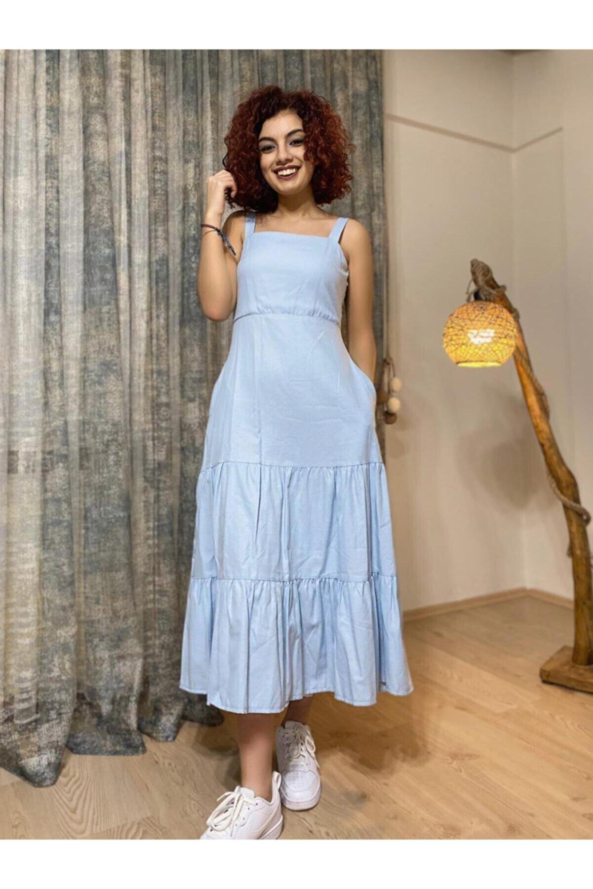 Stamina Kadın Mavi Askılı Uzun Elbise