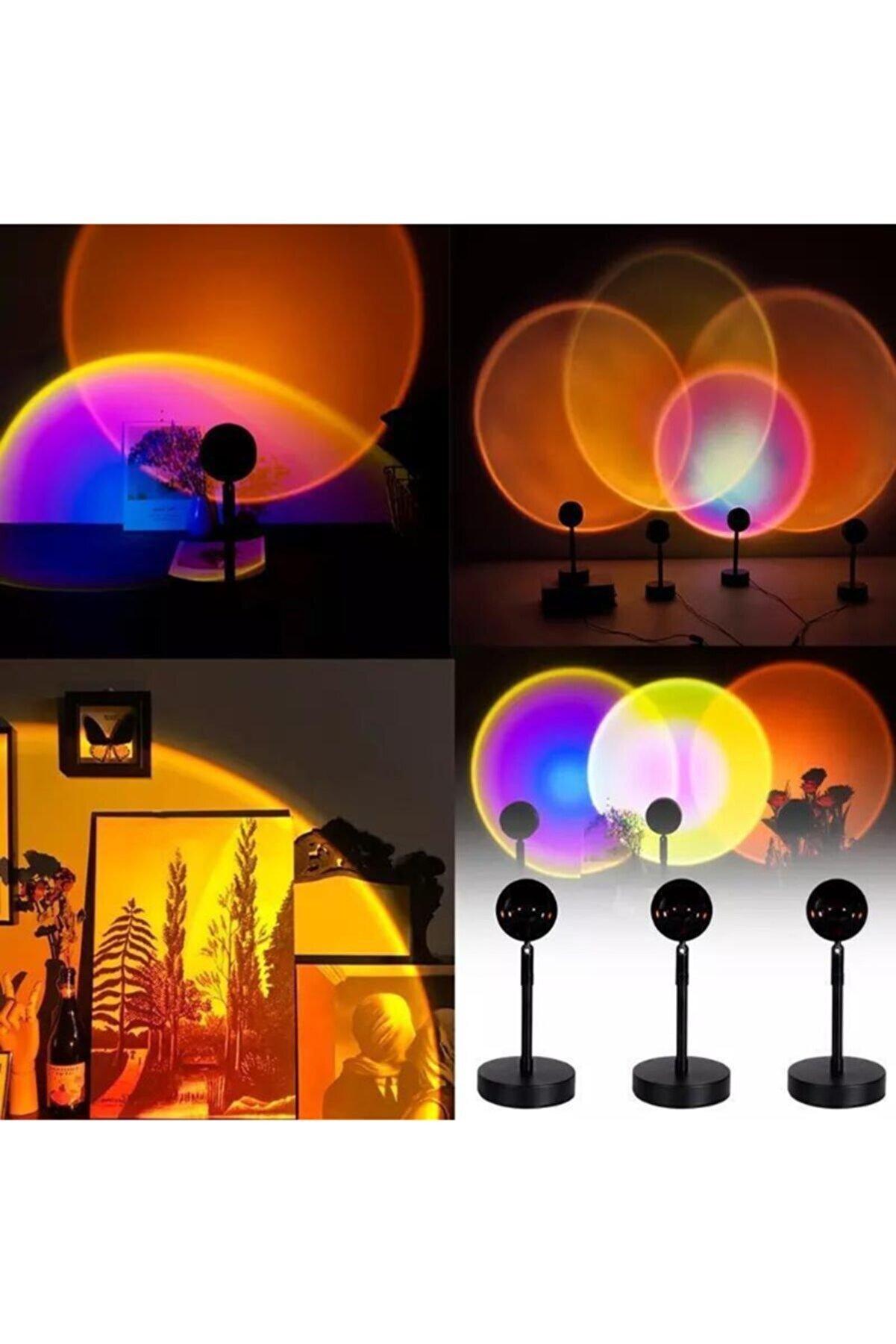 MiniHome Günbatımı Projektör 180 Derece Dönen Usb Gece Lambası