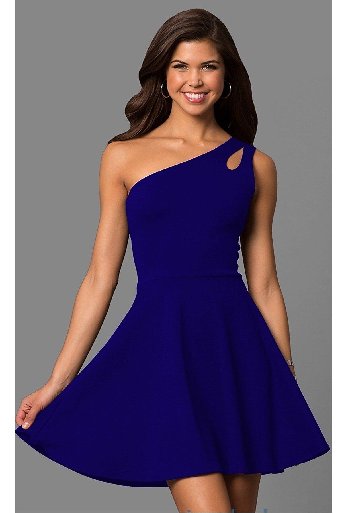 lovebox Kadın Mavi  Tek Omuz Detaylı Kiloş Mini Elbise 320