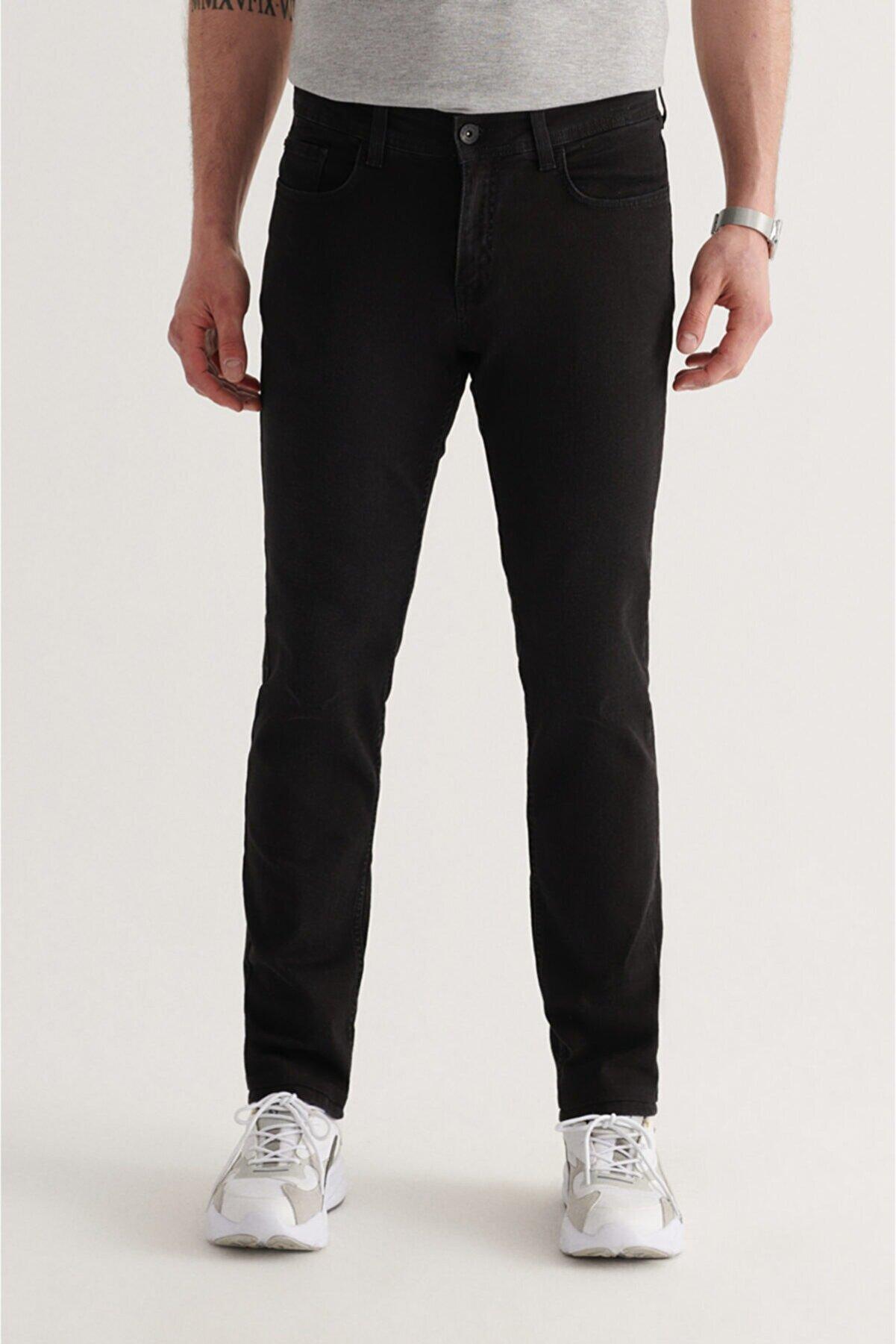 Avva Erkek Siyah Regular Fit Jean Pantolon A11y3703