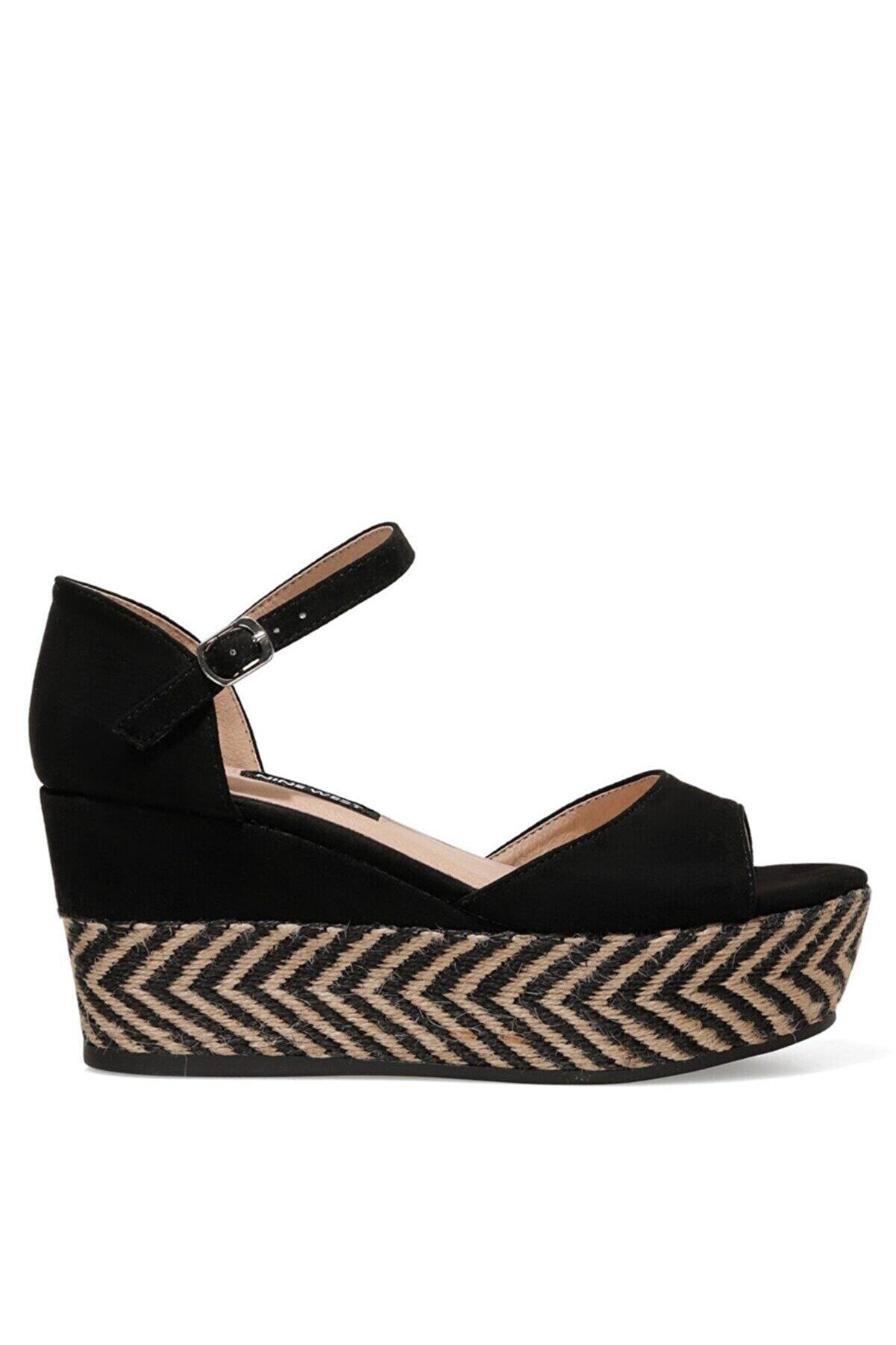 Nine West TRUDELL 1FX Siyah Kadın Dolgu Topuklu Sandalet 101030546