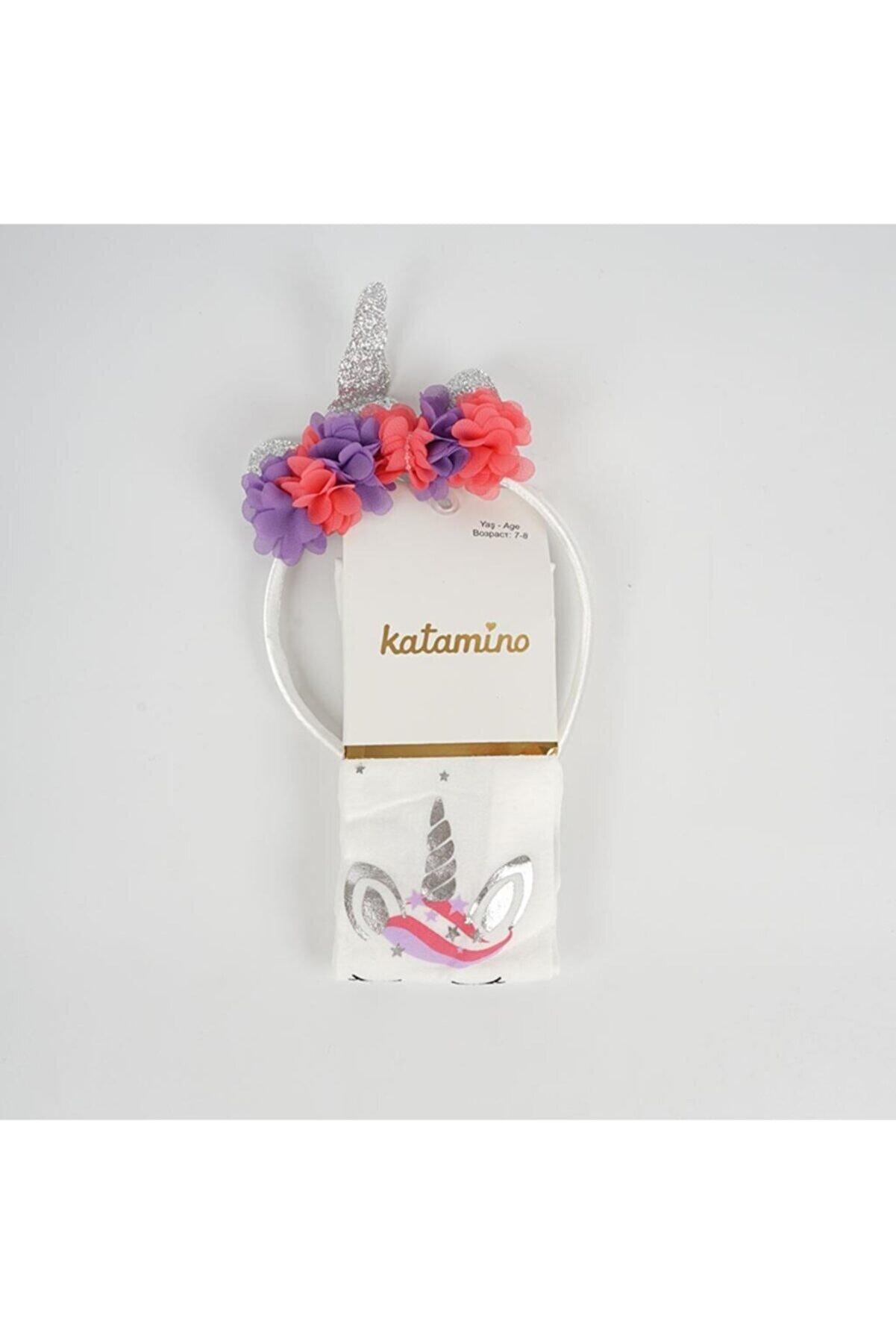 Katamino Kız Çocuk Ekru Ayla Taçlı Micro 50 Külotlu Çorap