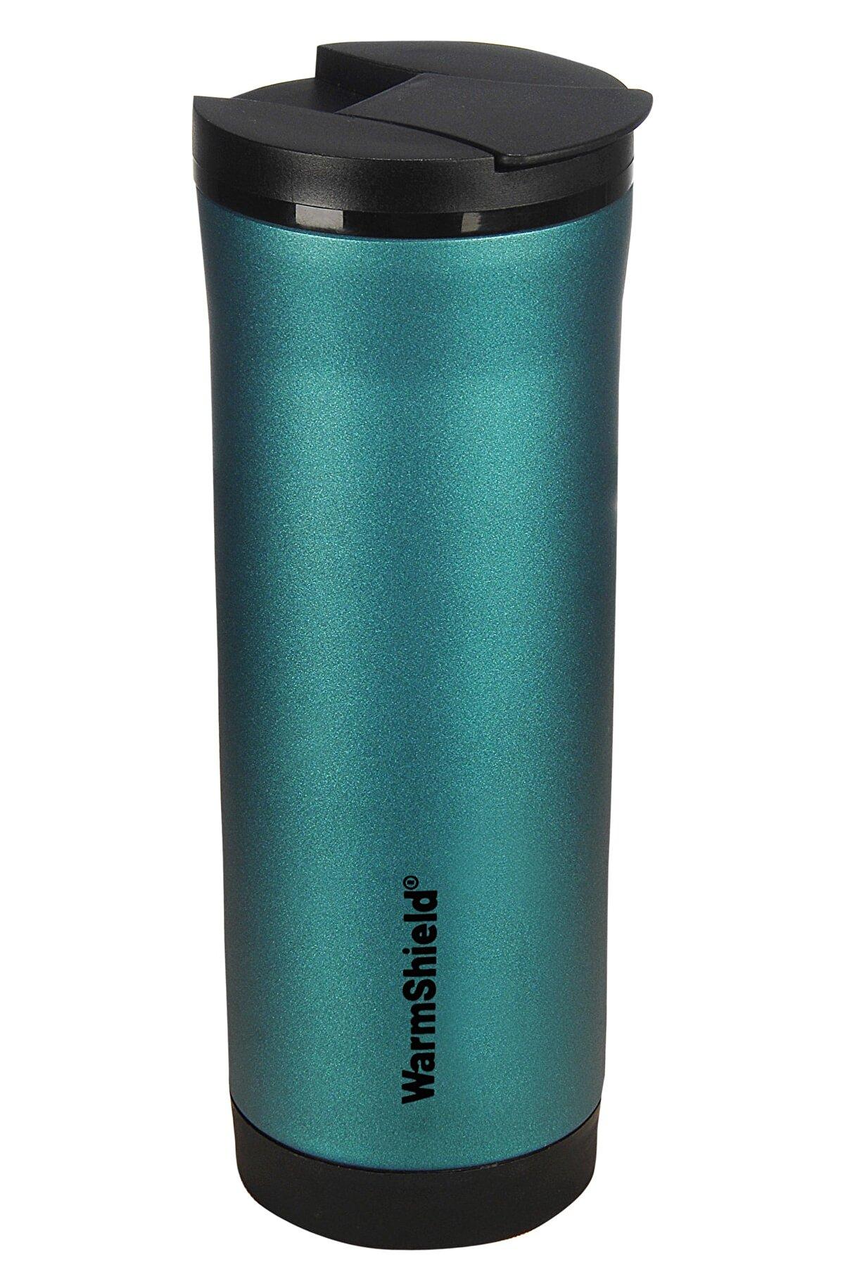 WarmShield Turkuaz Mavi Çift Katmanlı Paslanmaz Çelik Termos Bardak 400 ml ( Kahve Çay Termosu )