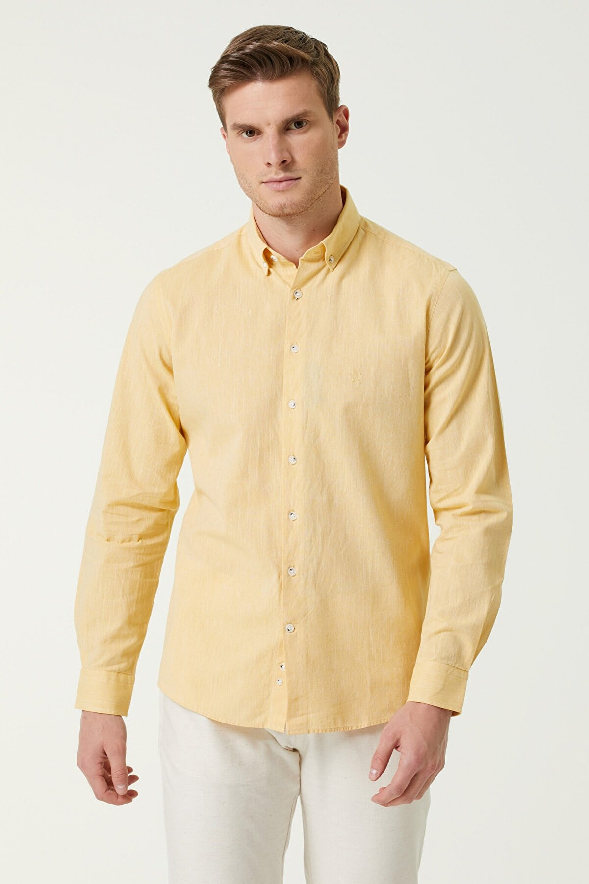 Network Erkek Slim Fit Sarı Gömlek 1079843