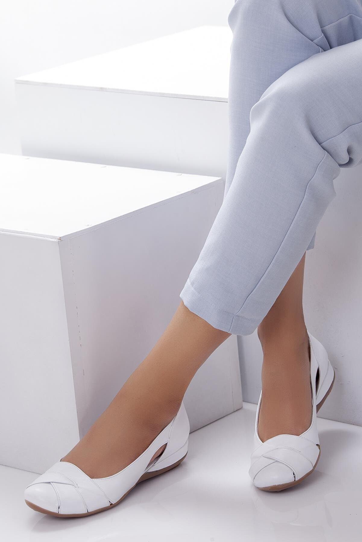 Deripabuc Hakiki Deri Beyaz Kadın Deri Babet Trc-4000