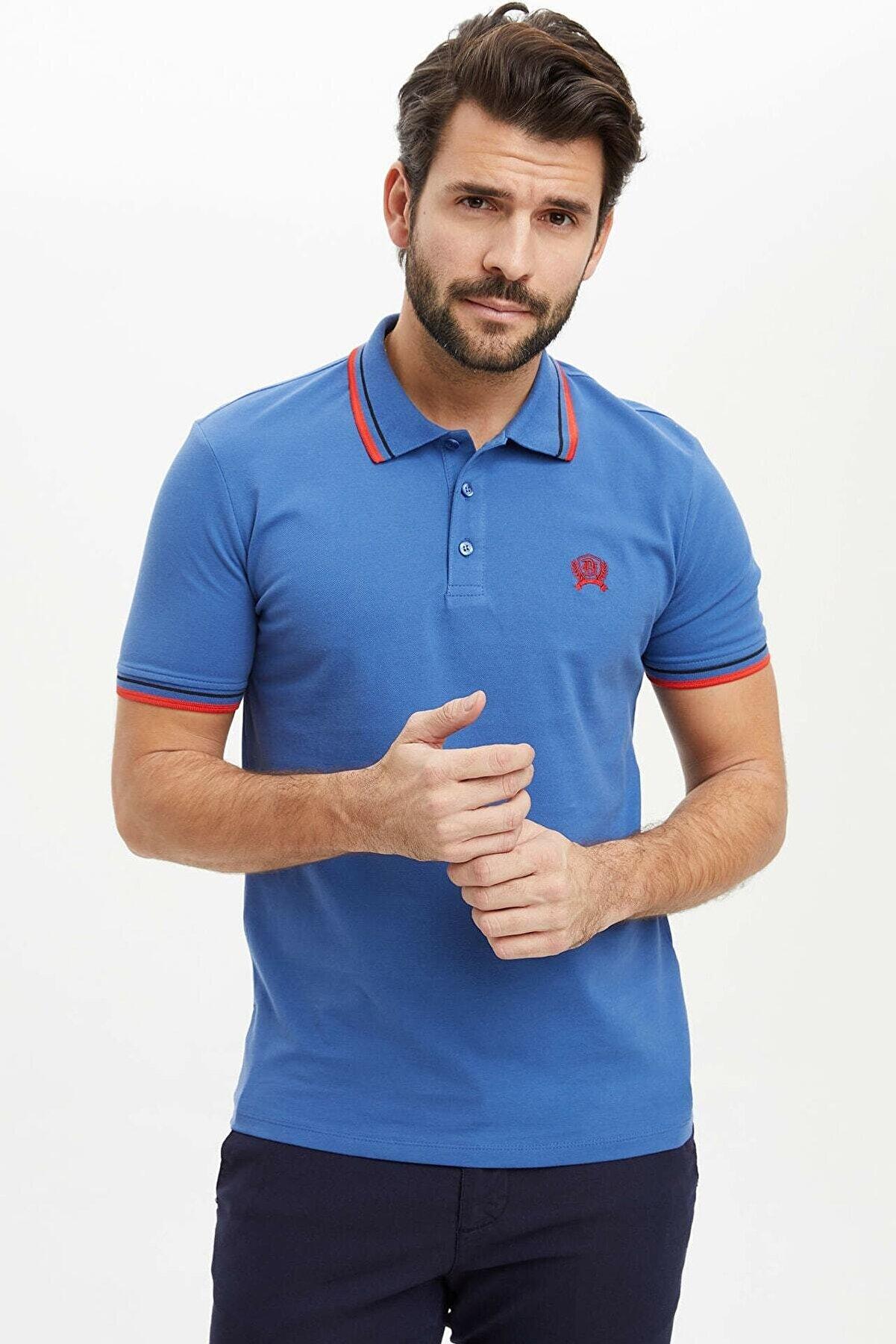 Defacto Slim Fit Polo Yaka Basic Kısa Kollu Tişört
