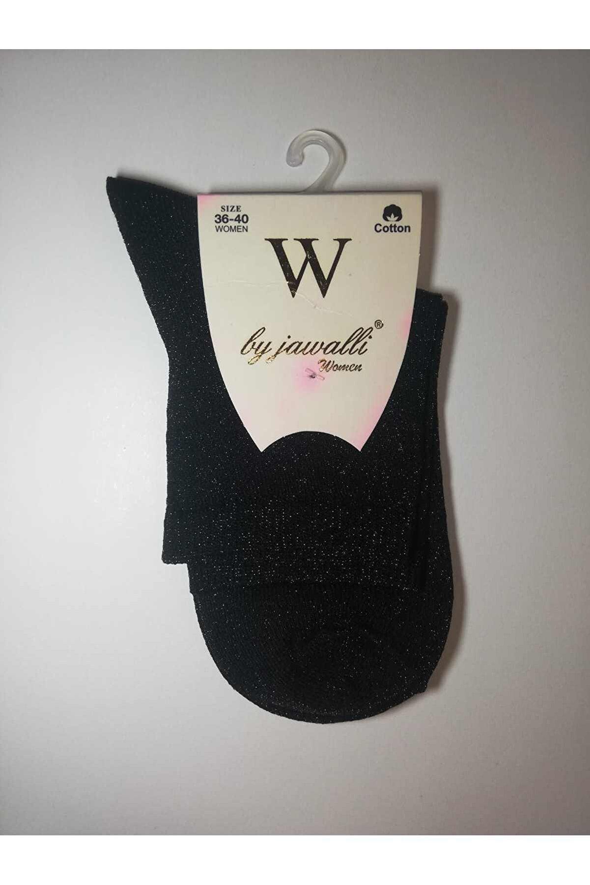 BY JAWALLİ SOCKS Kadın Siyah Simli Çorap