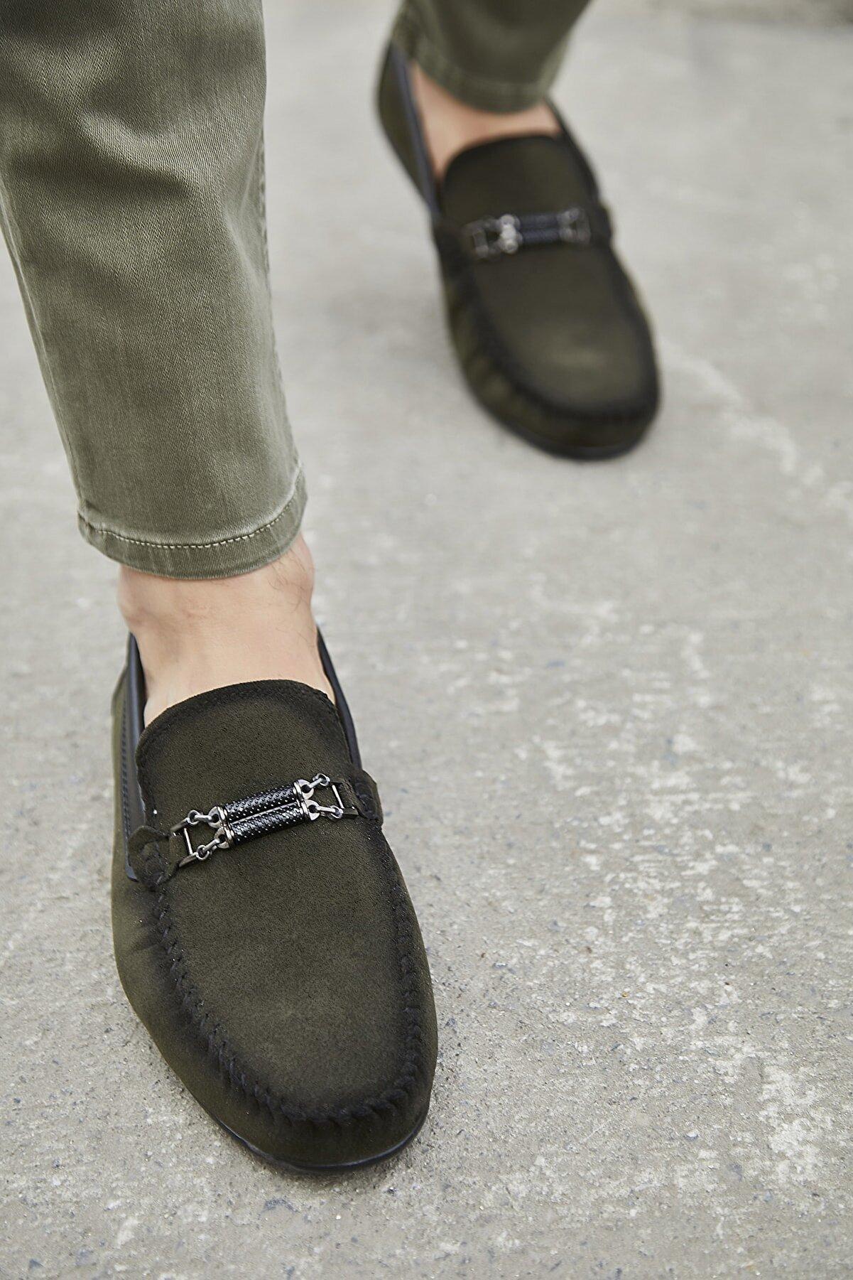 Sateen Men Erkek Haki Tokalı Süet Ayakkabı