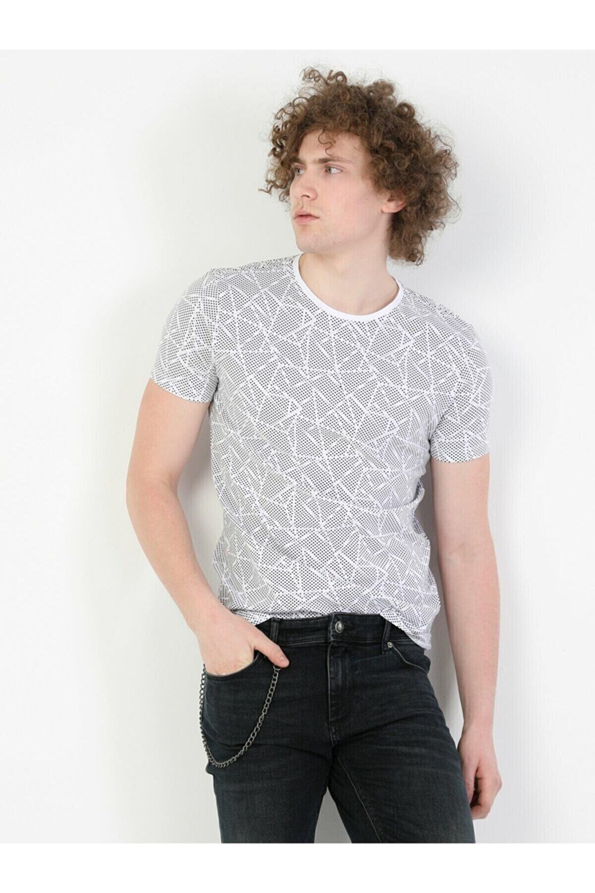 Colin's Slim Fit Standart Kol Bisiklet Yaka Beyaz Erkek Kısa Kol Tişört