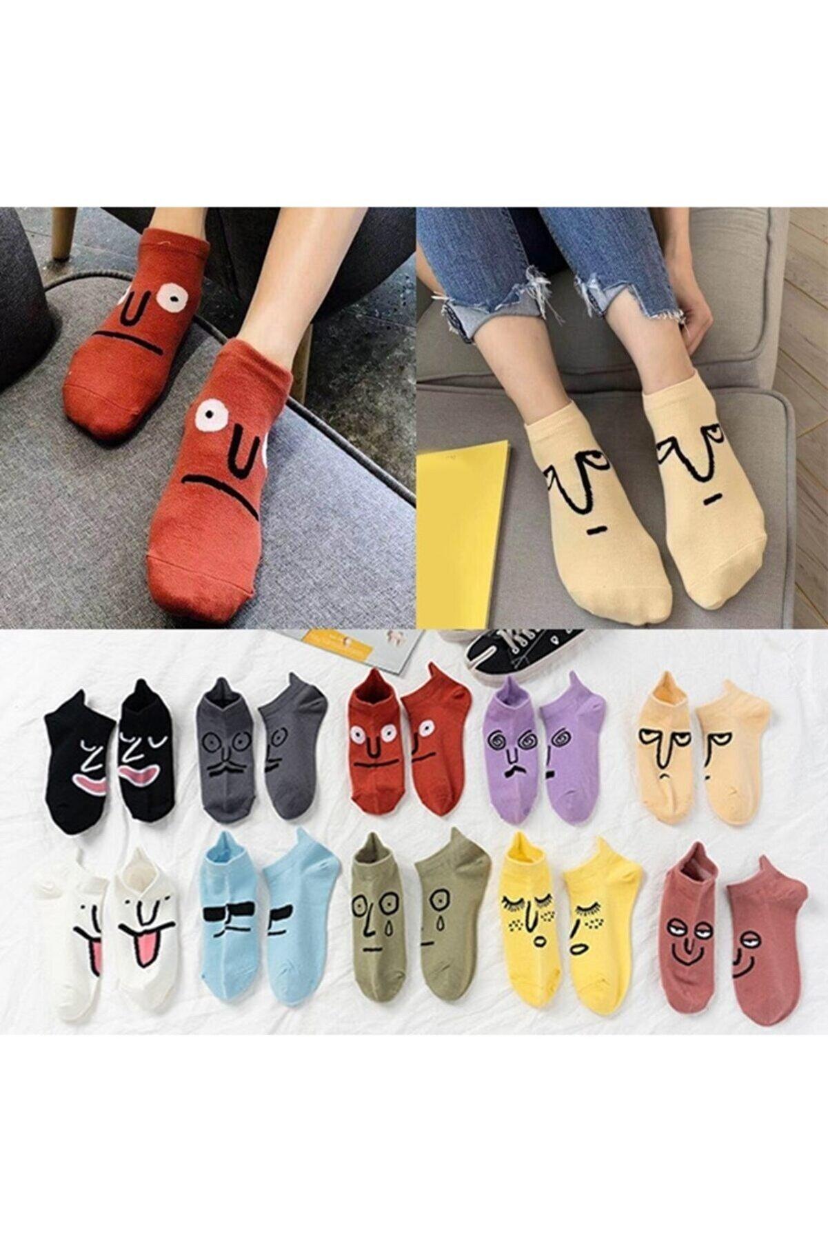 çorapmanya 7 Çift Kadın Komik Yüz' Lü Çoraplar Surat Ifadeli Çok Renkli