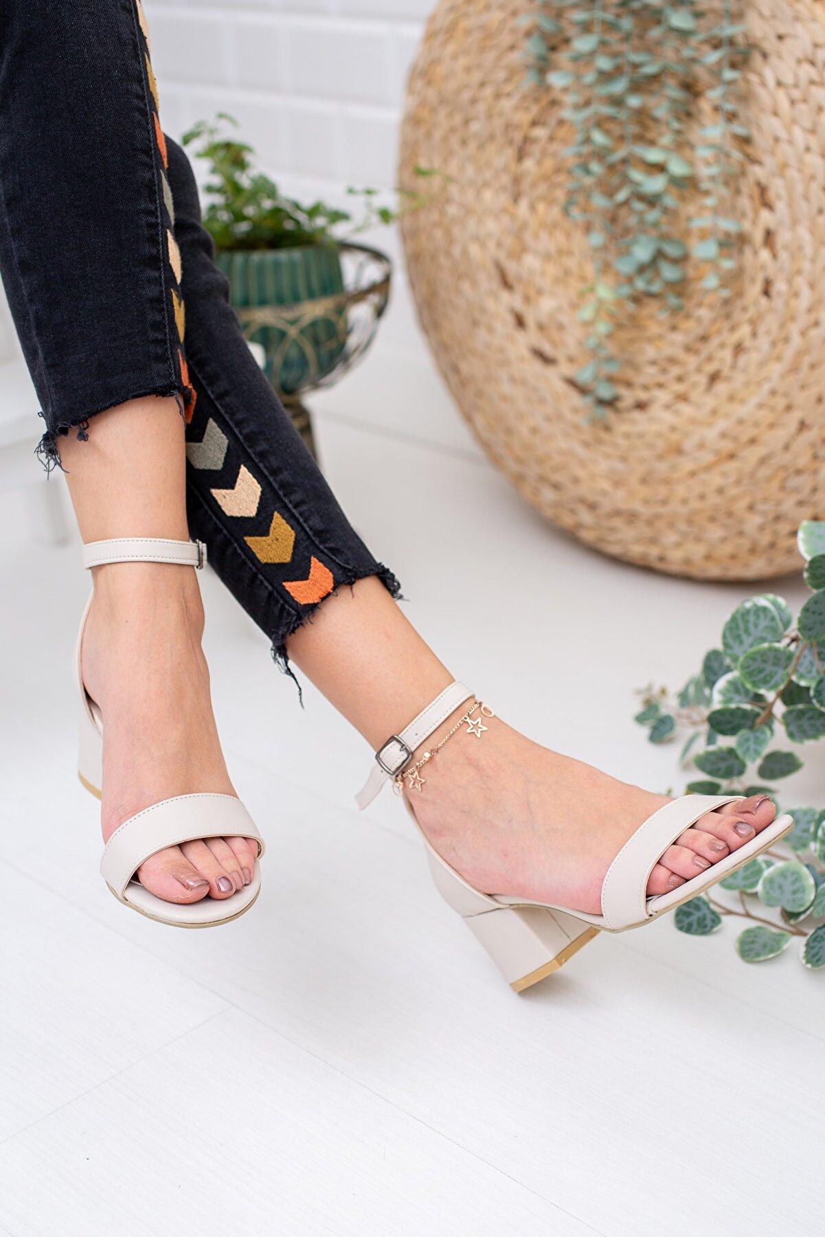 Moda Değirmeni Ten Cilt Kadın Klasik Topuklu Ayakkabı Md1015-119-0001