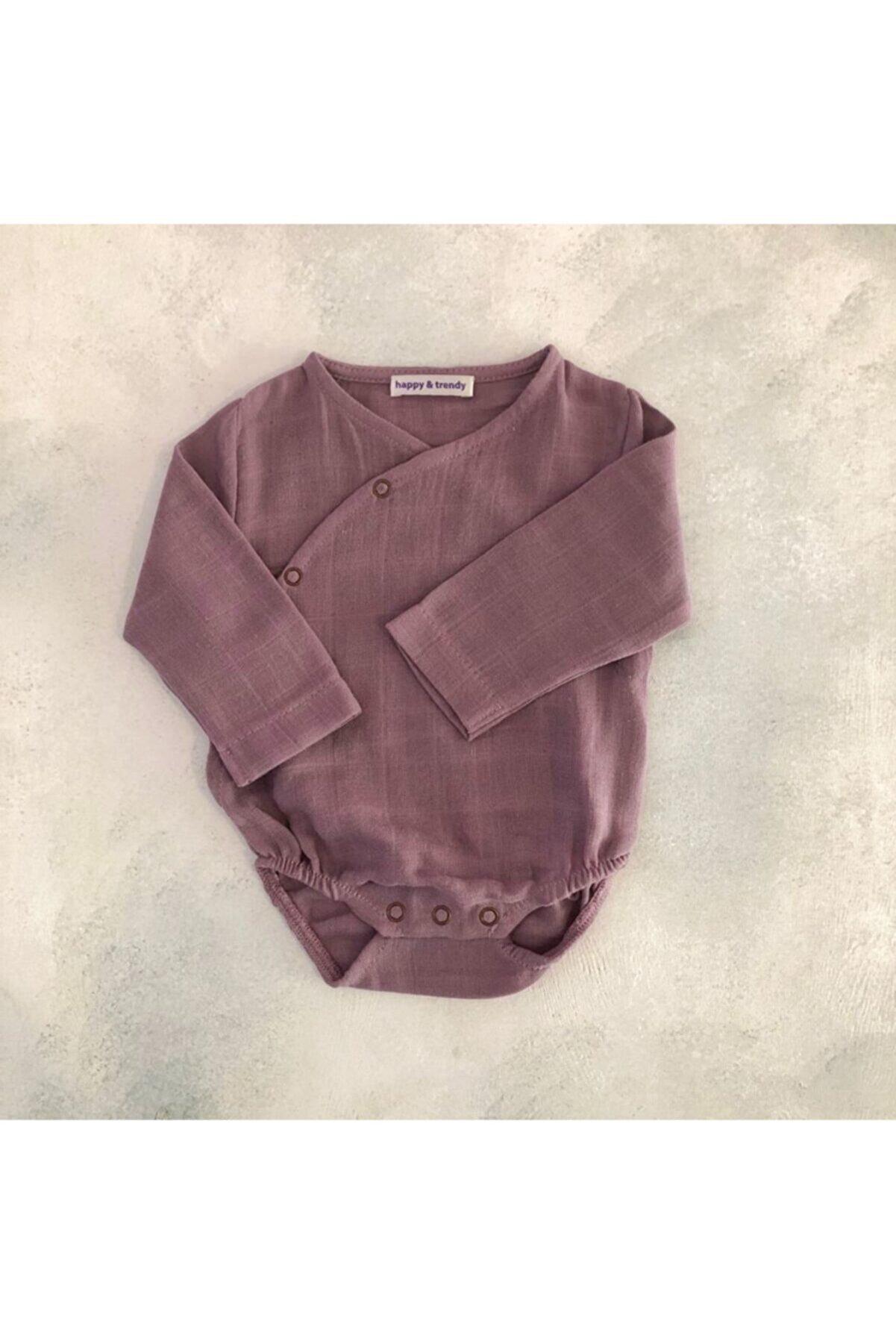 happy & trendy Unisex Bebek Mor Müslin Kimono Body