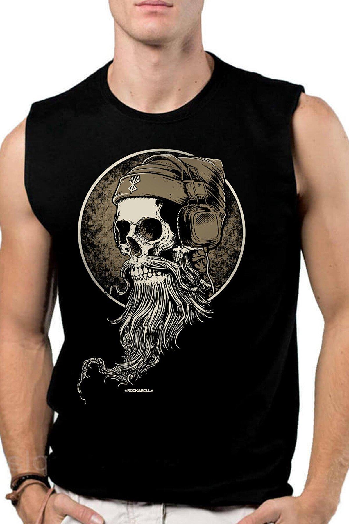 Rock & Roll Sakallı Kurukafa Siyah Kesik Kol | Kolsuz Erkek T-shirt | Atlet