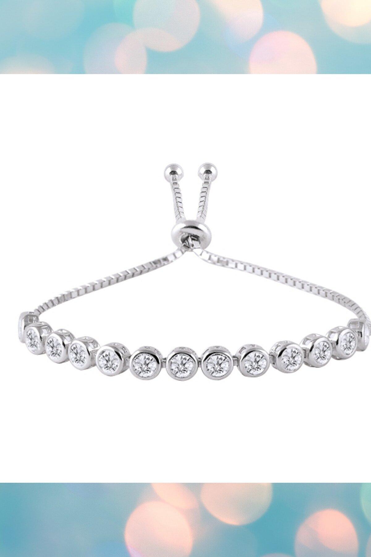 Crystal Diamond Zirconia Labaratuvar Pırlantası 0.30 Carat Asansörlü Su Yolu Bileklik