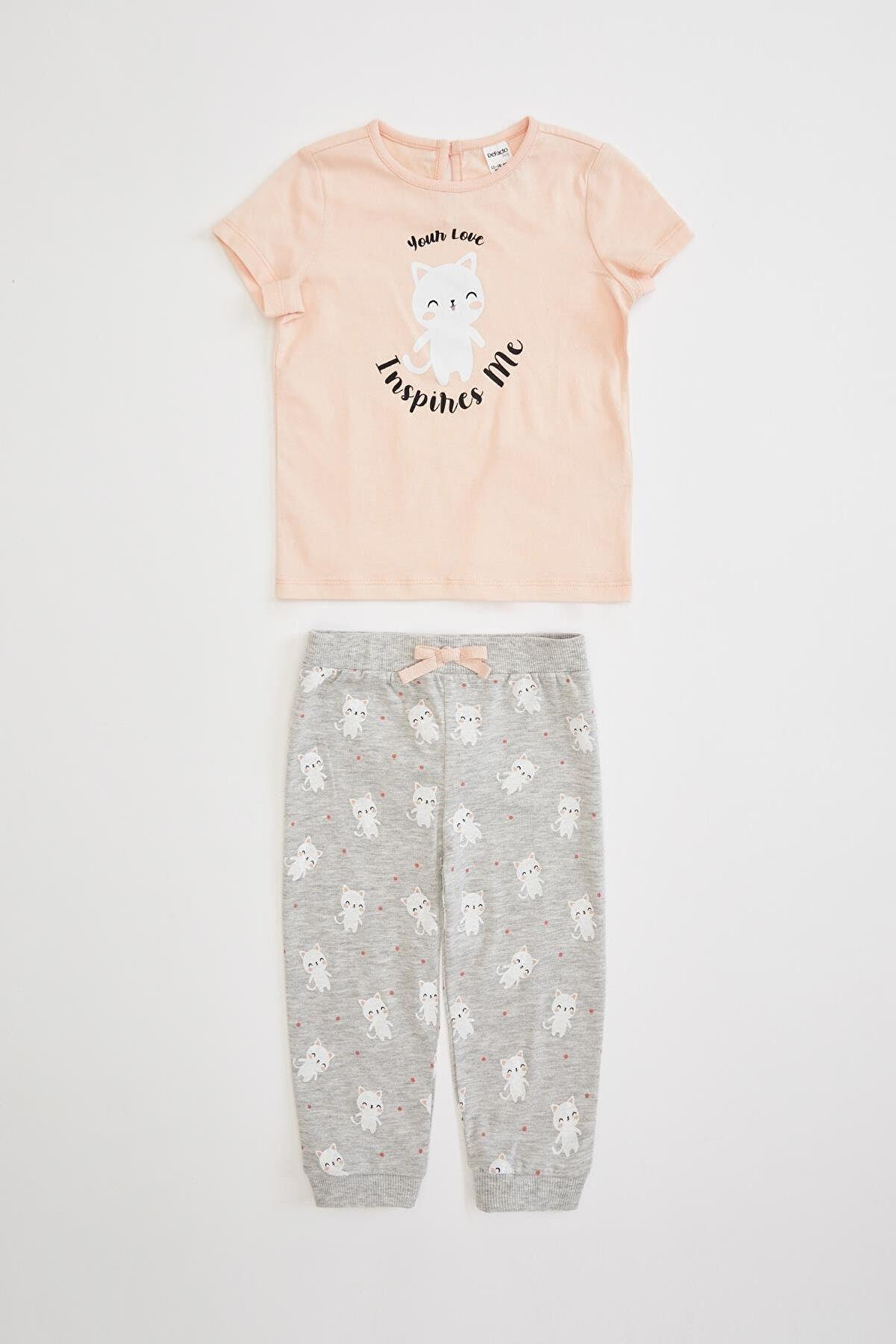 Defacto Kız Bebek Baskılı Pijama Takımı